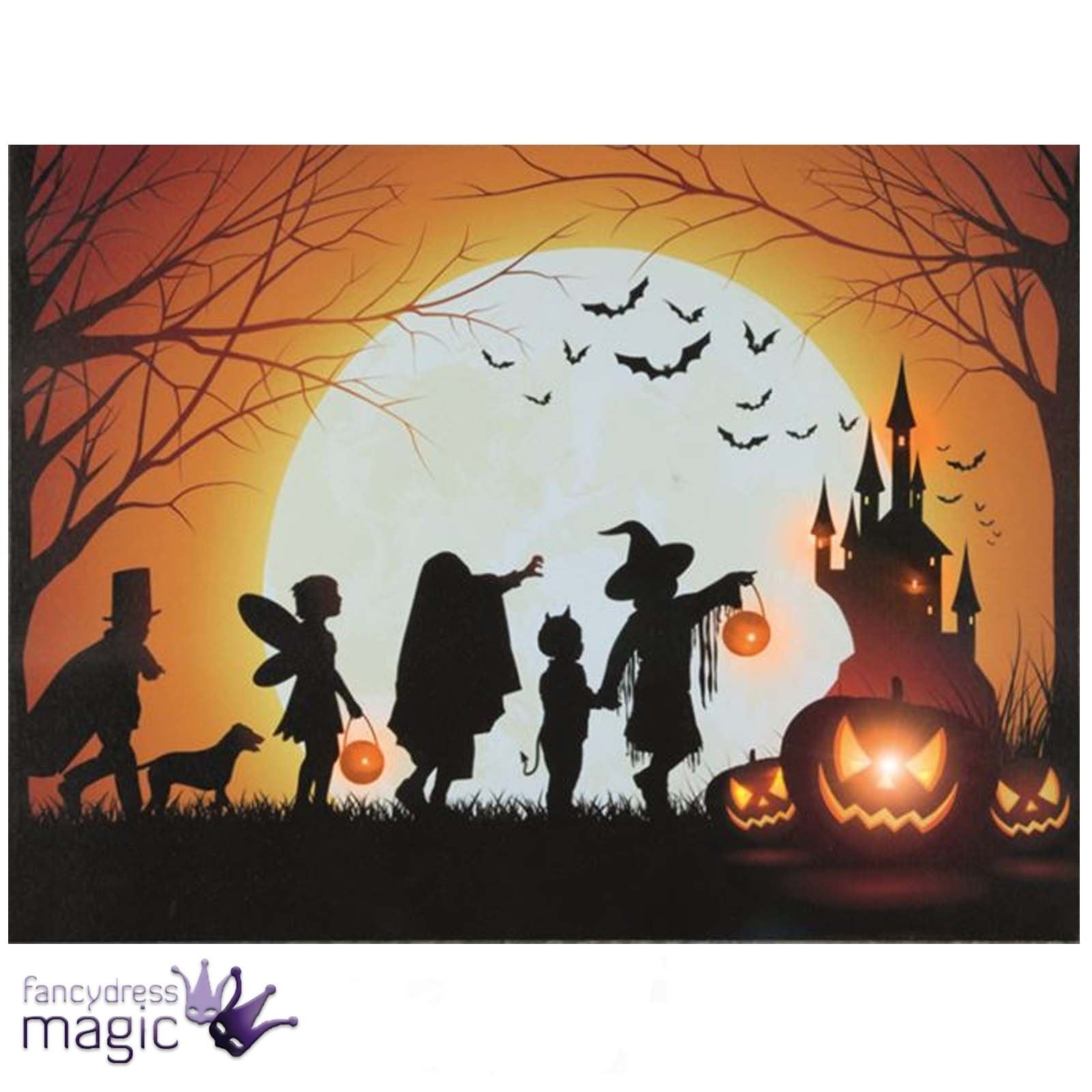 Led Light Up Canvas Halloween Spooky Scene Picture Wall Home Inside Recent Halloween Led Canvas Wall Art (View 9 of 15)