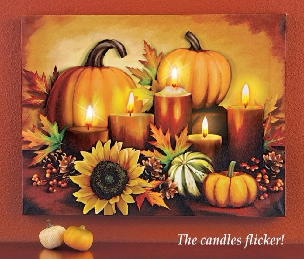 Led Lighted Autumn Fall Pumpkin Harvest Halloween Thanksgiving Intended For 2018 Halloween Led Canvas Wall Art (Gallery 9 of 15)