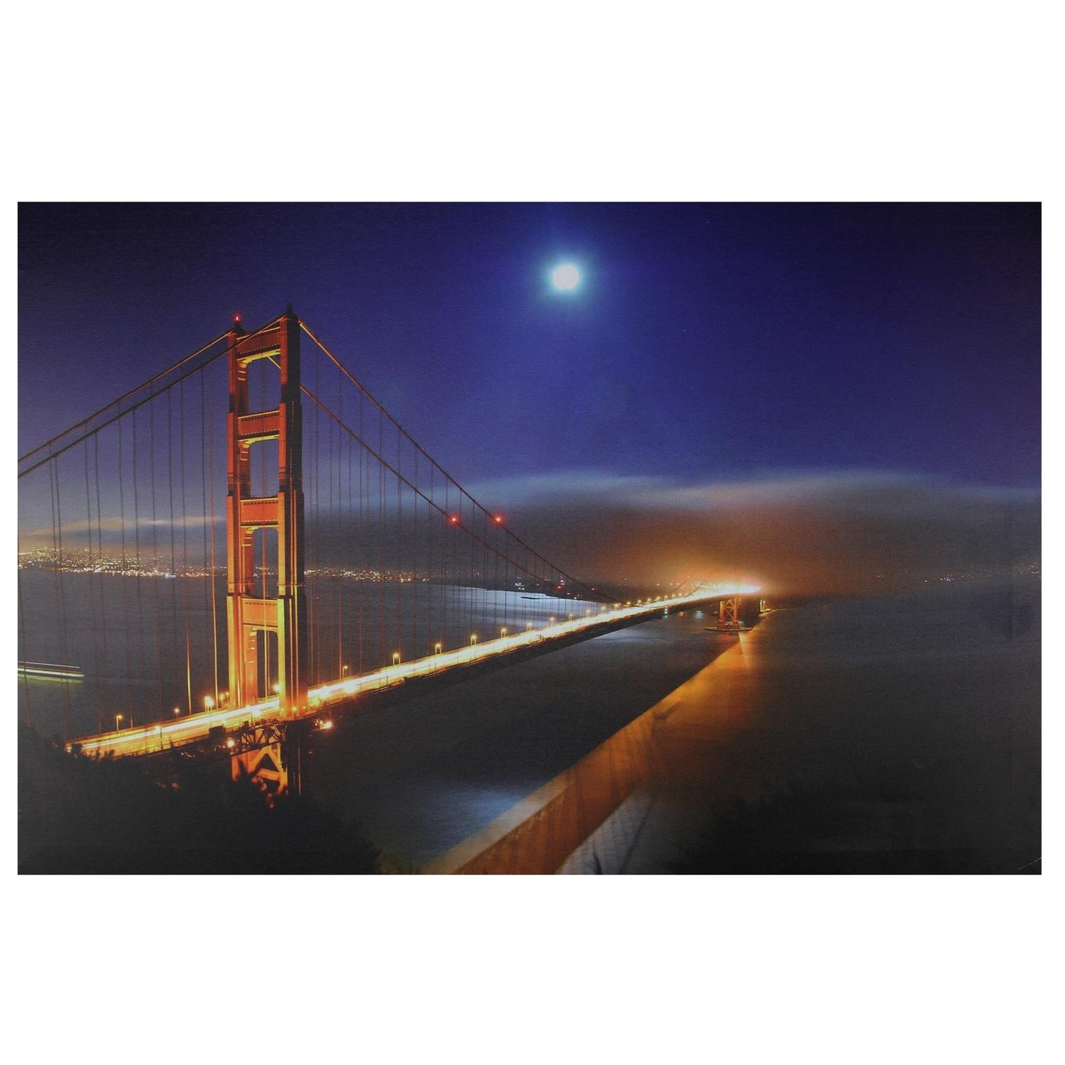 Led Lighted Famous San Francisco Golden Gate Bridge Canvas Wall Pertaining To 2018 Golden Gate Bridge Canvas Wall Art (Gallery 5 of 15)