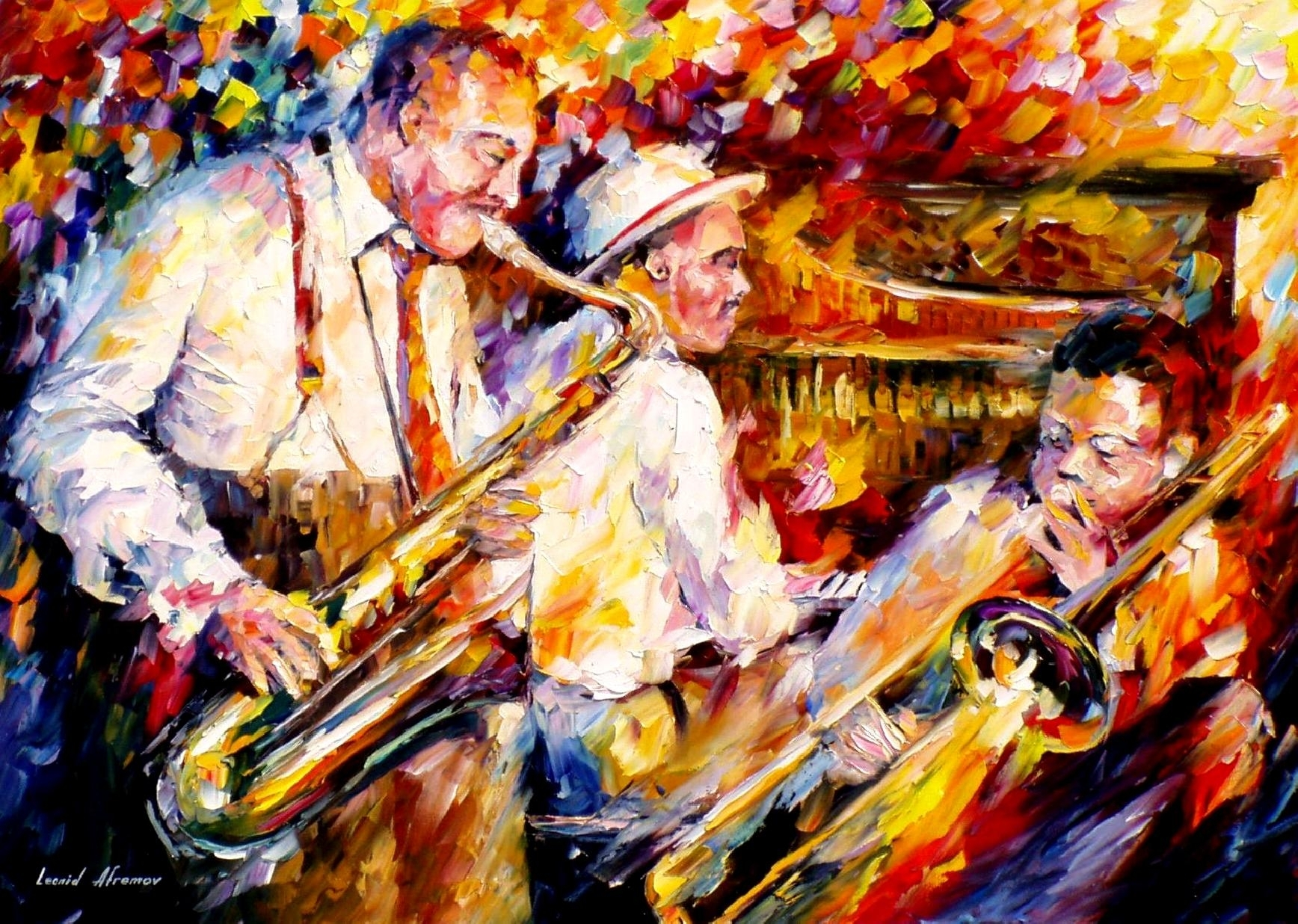 Leonid Afremov, Oil On Canvas, Palette Knife, Buy Original In Most Popular Jazz Canvas Wall Art (View 12 of 15)