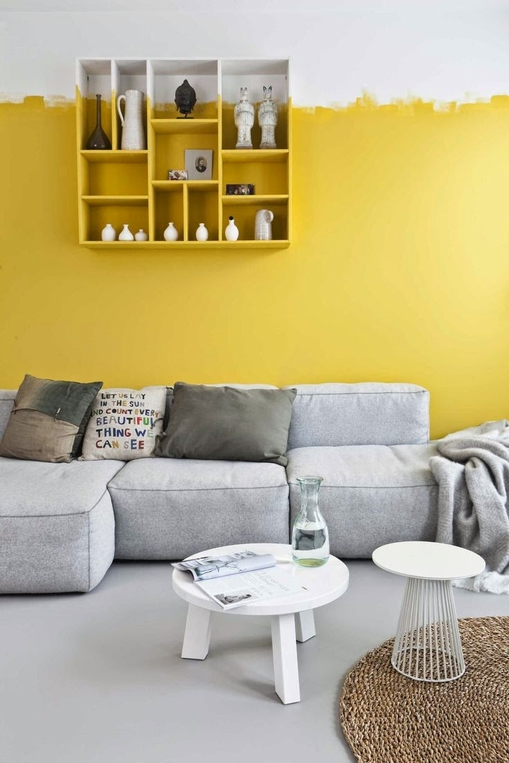Let's The Sunshine In | Yellow Accent Walls, Gray Floor And Yellow In Most Current Wall Accents For Yellow Room (Gallery 4 of 15)
