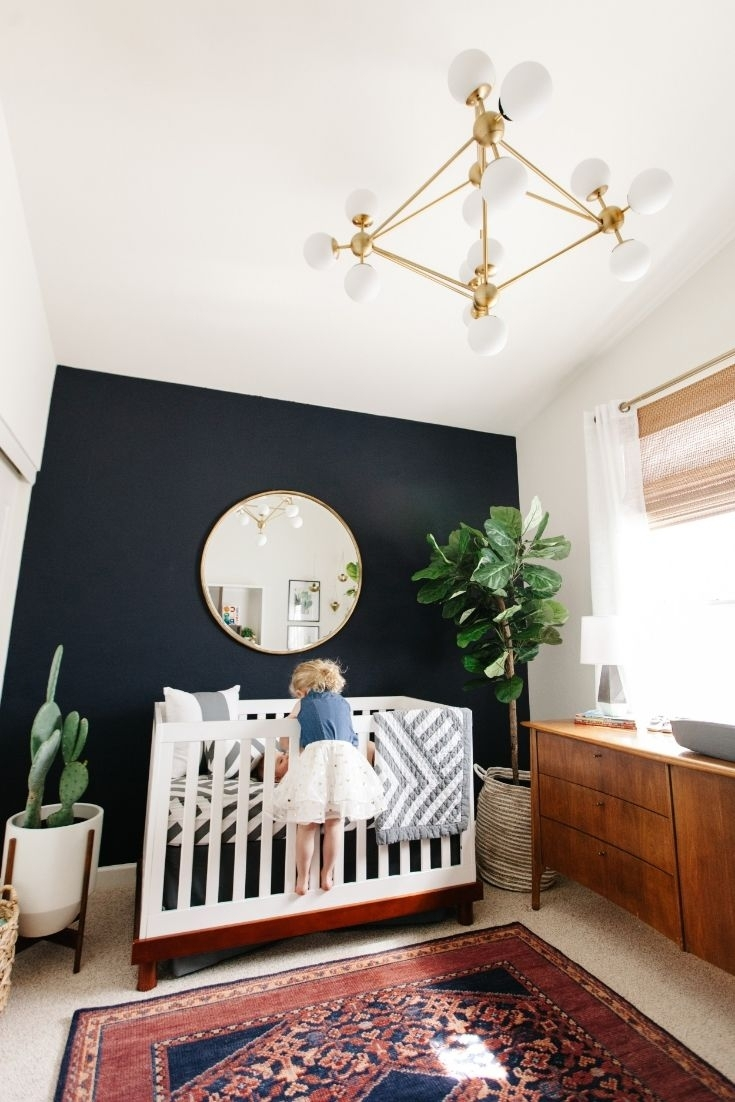 Levi's Nursery Reveal | Fiddle Fig Tree, Navy Accent Walls And For Current Navy Wall Accents (Gallery 6 of 15)