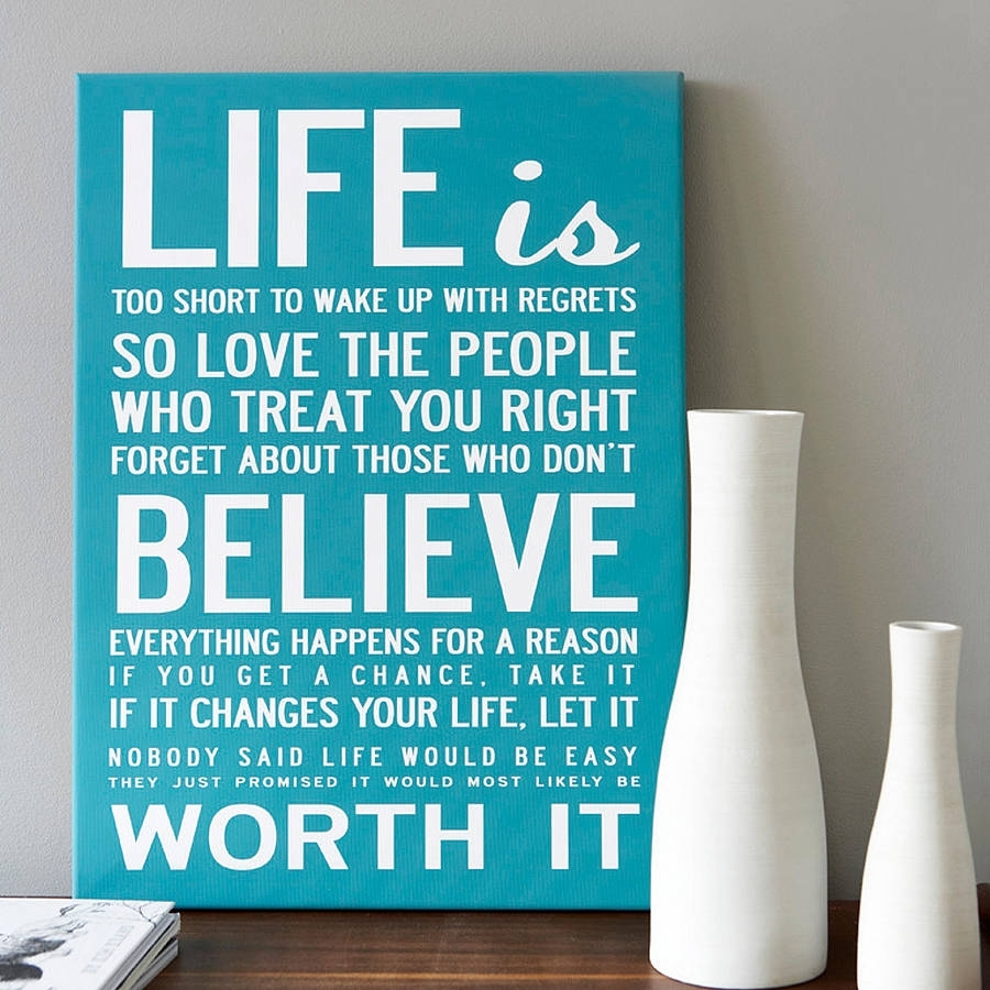 Life Is Too Short' Quote Print Or Canvasi Love Design with regard to Latest Love Canvas Wall Art