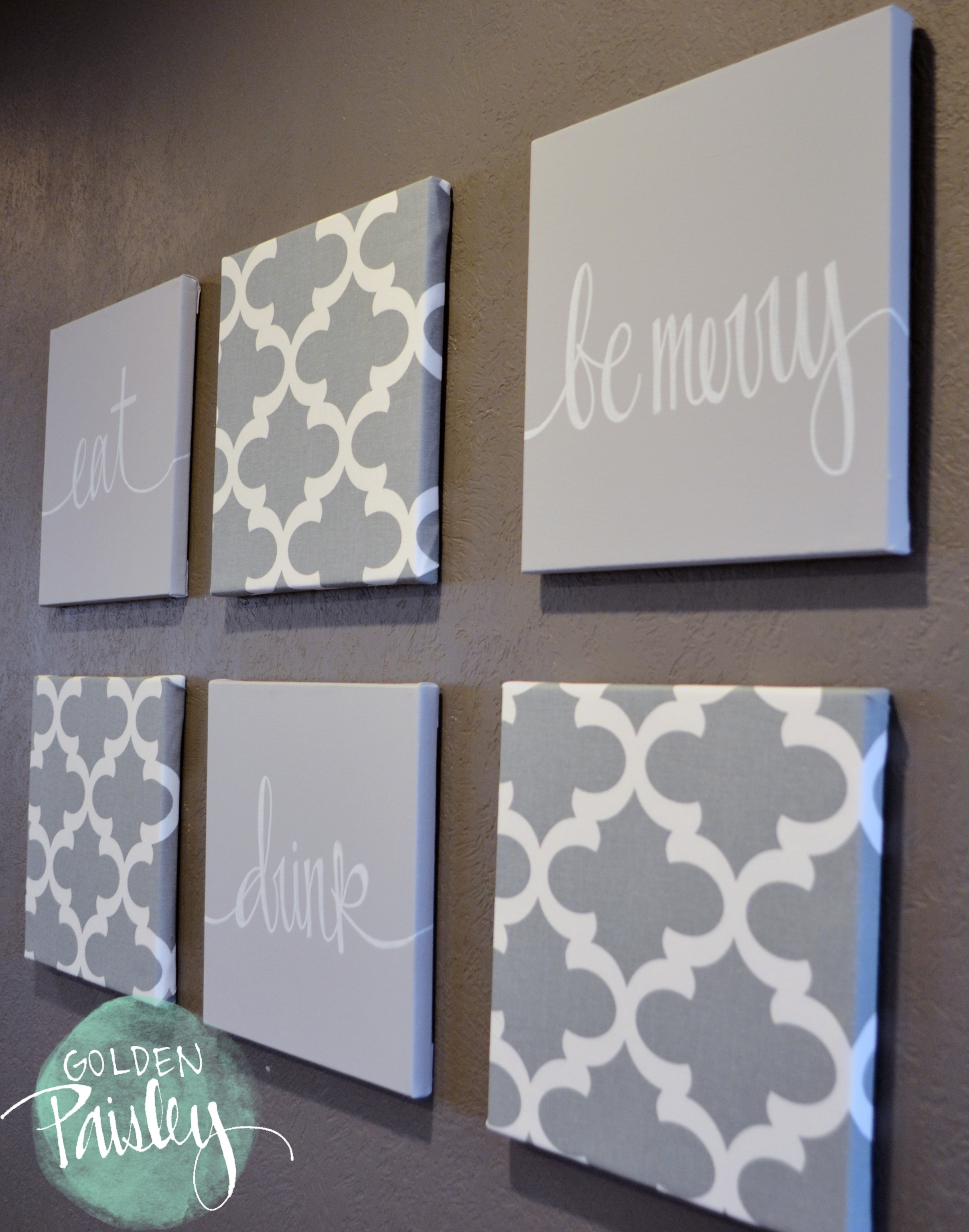 Light Gray Moroccan 6 Piece Wall Art Eat Drink Be Merry With 2018 Eat Canvas Wall Art (View 15 of 15)