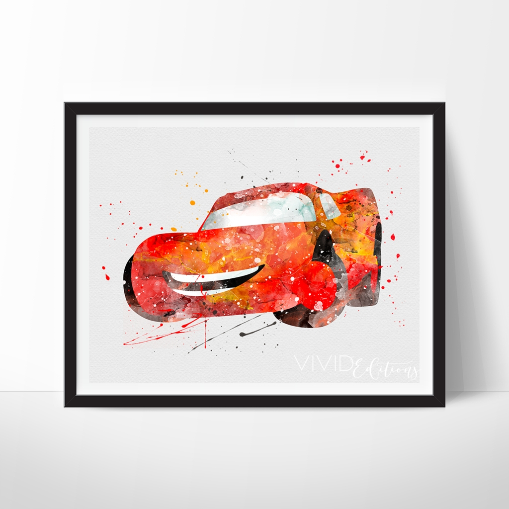 Lightning Mcqueen, Cars Movie Disney Pixar Watercolor Art Print Throughout Best And Newest Cars Theme Canvas Wall Art (Gallery 8 of 15)