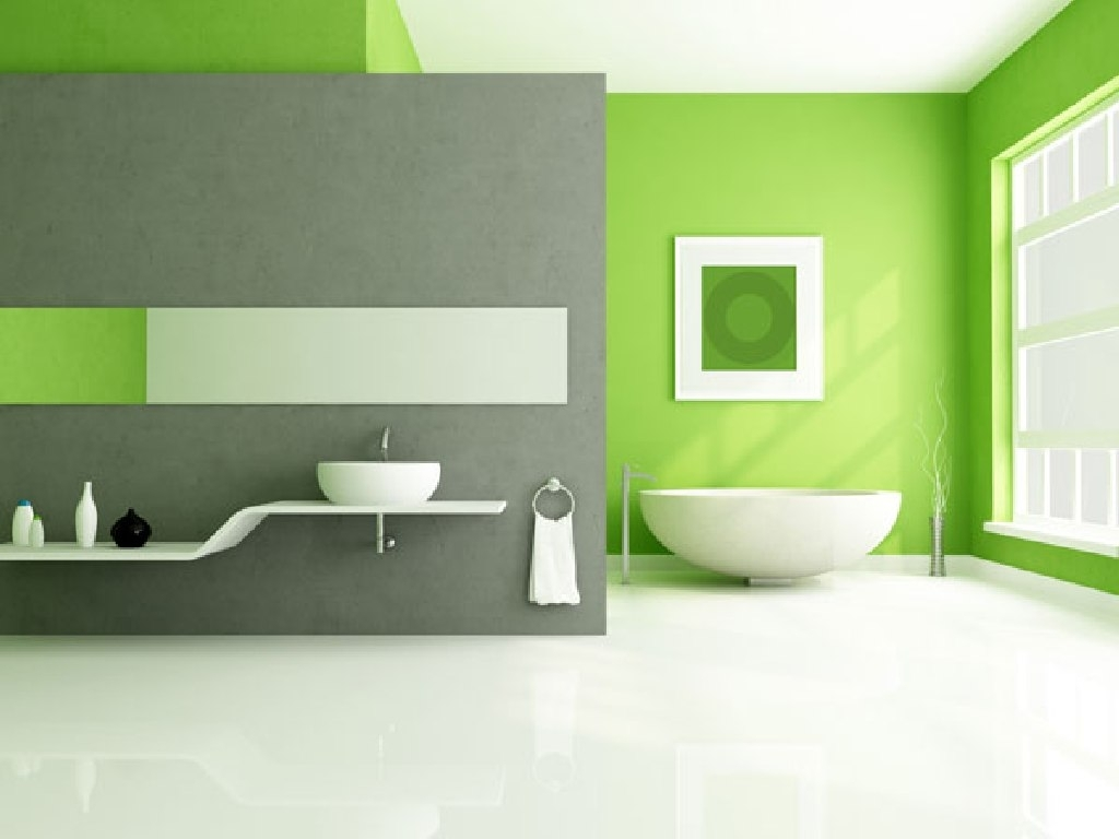 Lime Green Accents Wall Paint For Modern Bathroom Idea Combine With Most Popular Green Wall Accents (View 9 of 15)