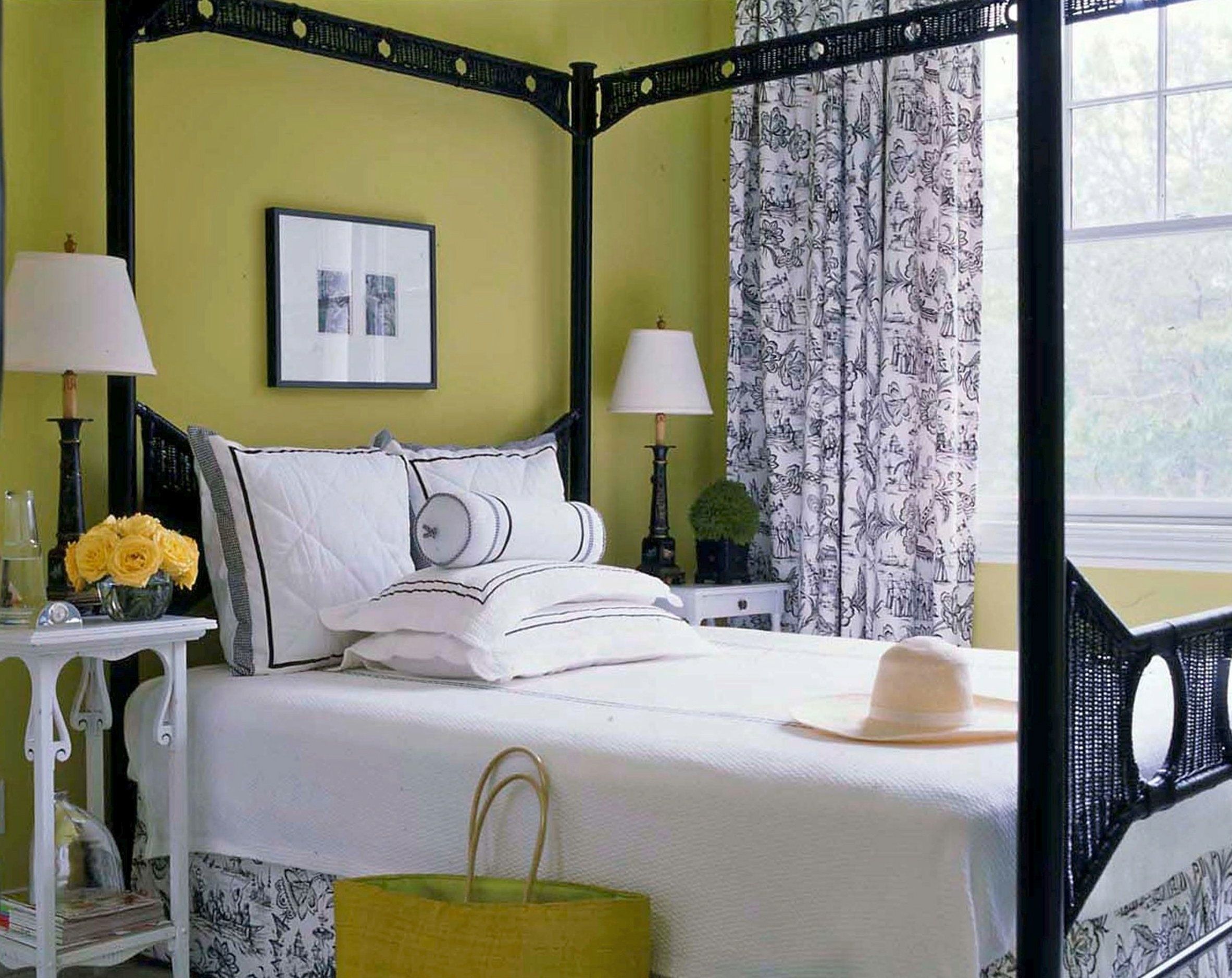 Lime Green Bedroom Showing Green Wall And Twin White Table Lamps With Most Up To Date Green Room Wall Accents (View 13 of 15)