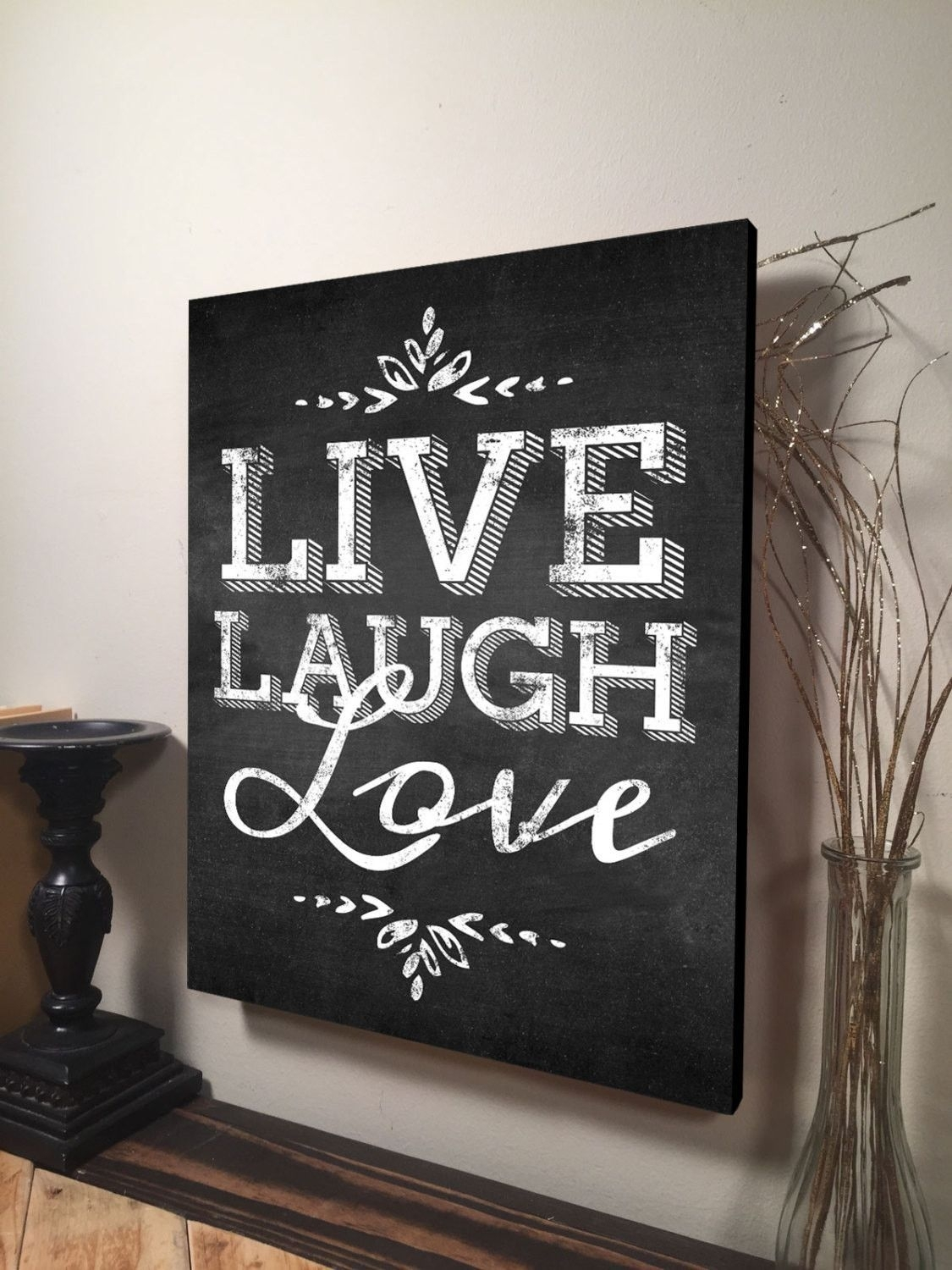 Live Laugh Love Wall Art Inspirational Quote Home Decor Canvas Art with regard to Most Recent Canvas Wall Art Family Quotes