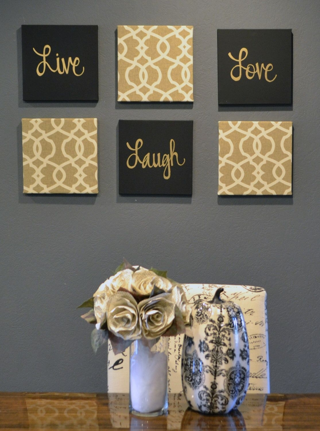 Live Laugh Love Wall Art Pack Of 6 Canvas Wall Hangings Painting intended for Newest Fabric Covered Squares Wall Art