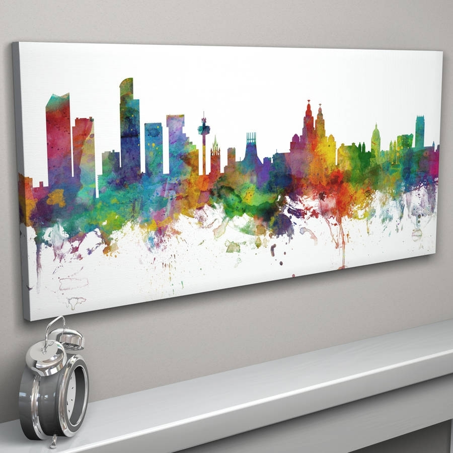 Liverpool England City Skylineartpause | Notonthehighstreet with Best and Newest Panoramic Canvas Wall Art
