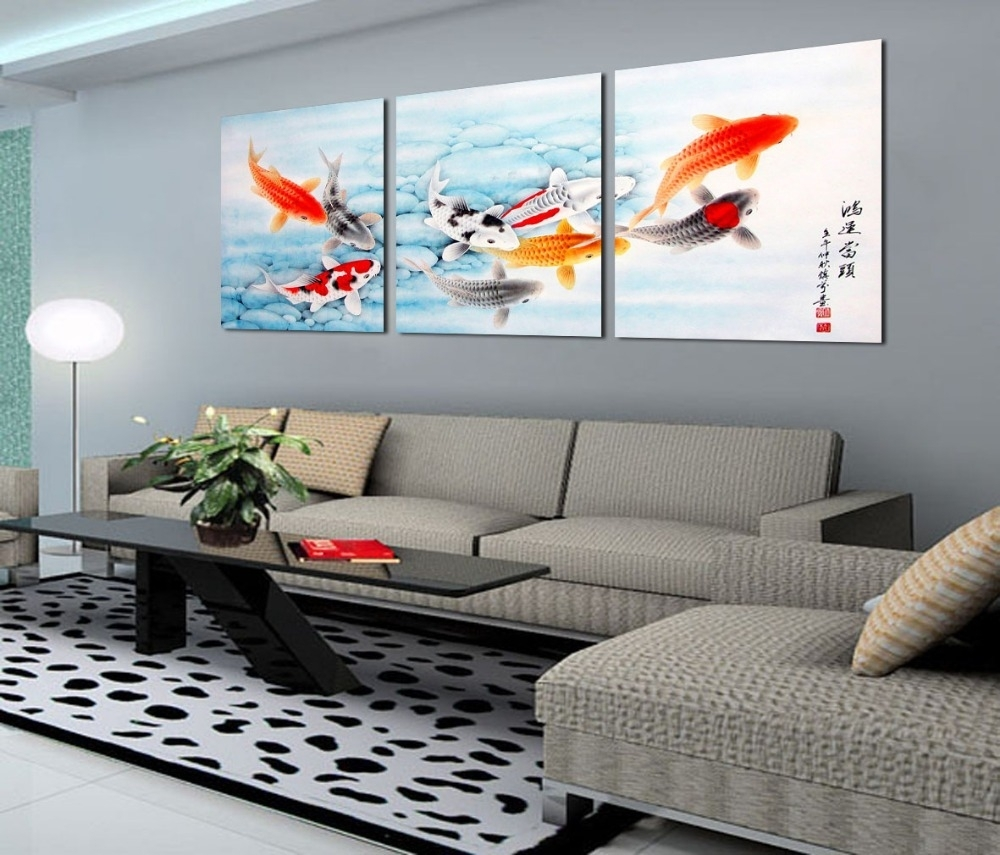 Living Room. Art Canvas And Print As Living Room Decor: Koi Fish in Latest Fabric Painting Wall Art