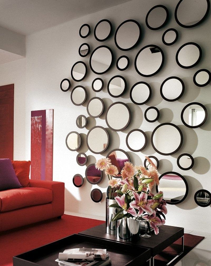 Living Room : Beautiful Mirror Wall Decor For Living Room With Throughout Most Popular Fabric Circle Wall Art (View 5 of 15)