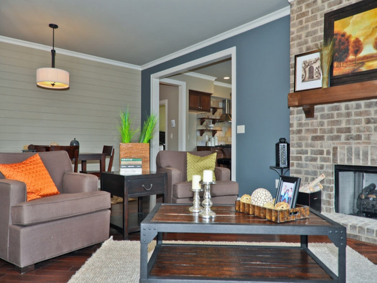 Living Room Blue Walls Light Ideas Wall Decor Color With Brown Within Newest Wall Accents For Tan Room (View 7 of 15)