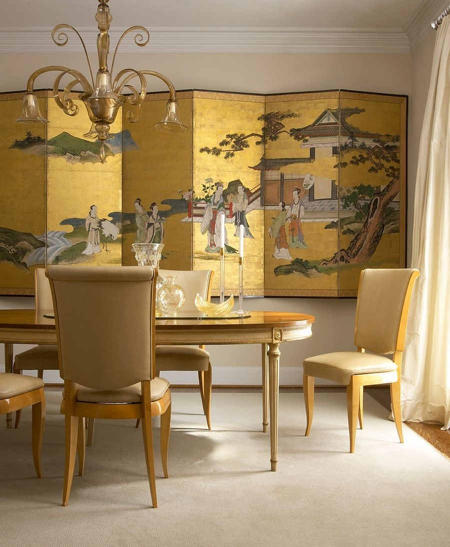 Living Room : Decorative Screen In Gold Creates A Dramatic inside Most Current Asian Wall Accents