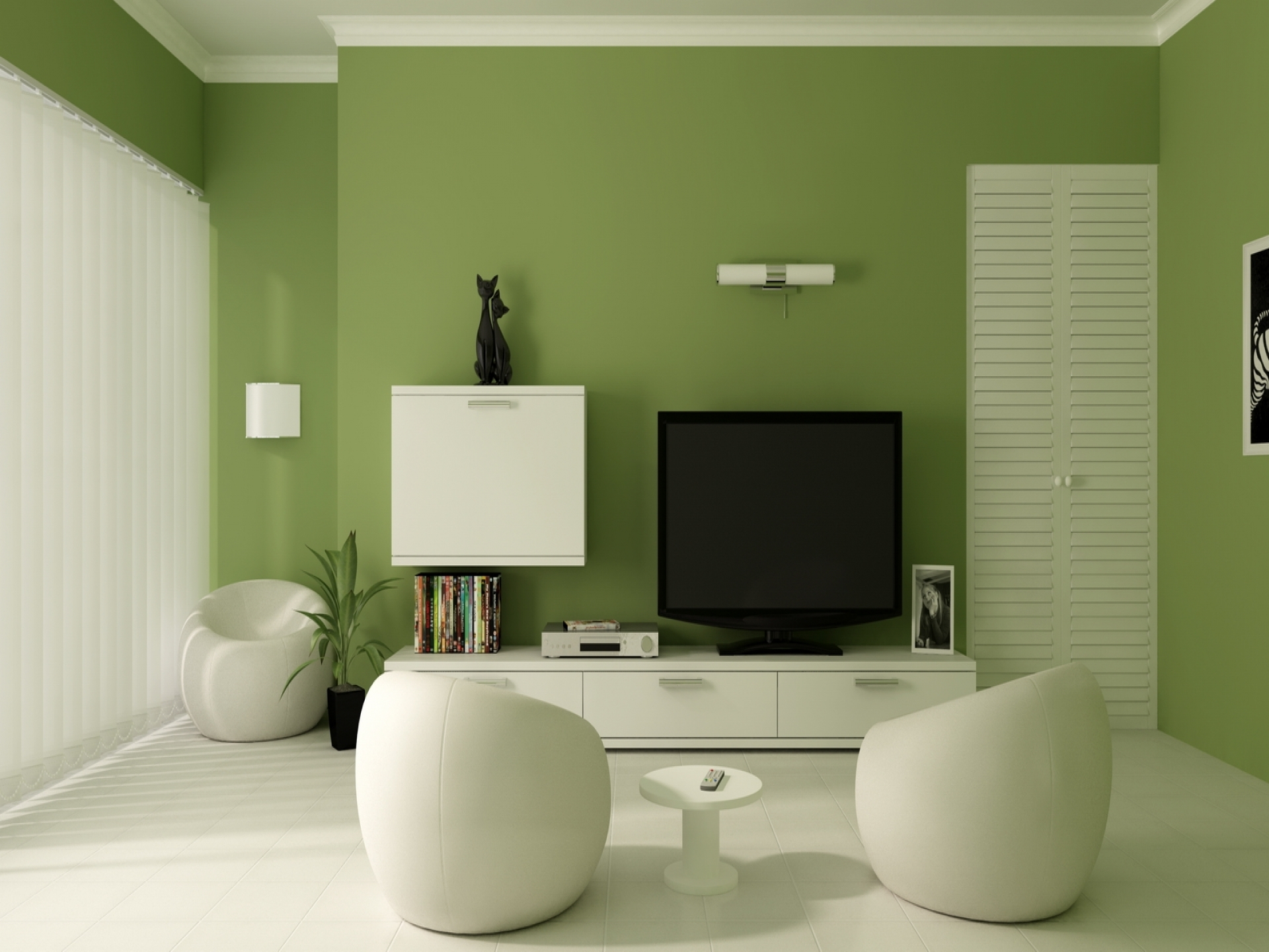 Living Room, Green Accent Wall Also White Ceramic Tile Flooring With Regard To Most Up To Date Green Room Wall Accents (View 11 of 15)