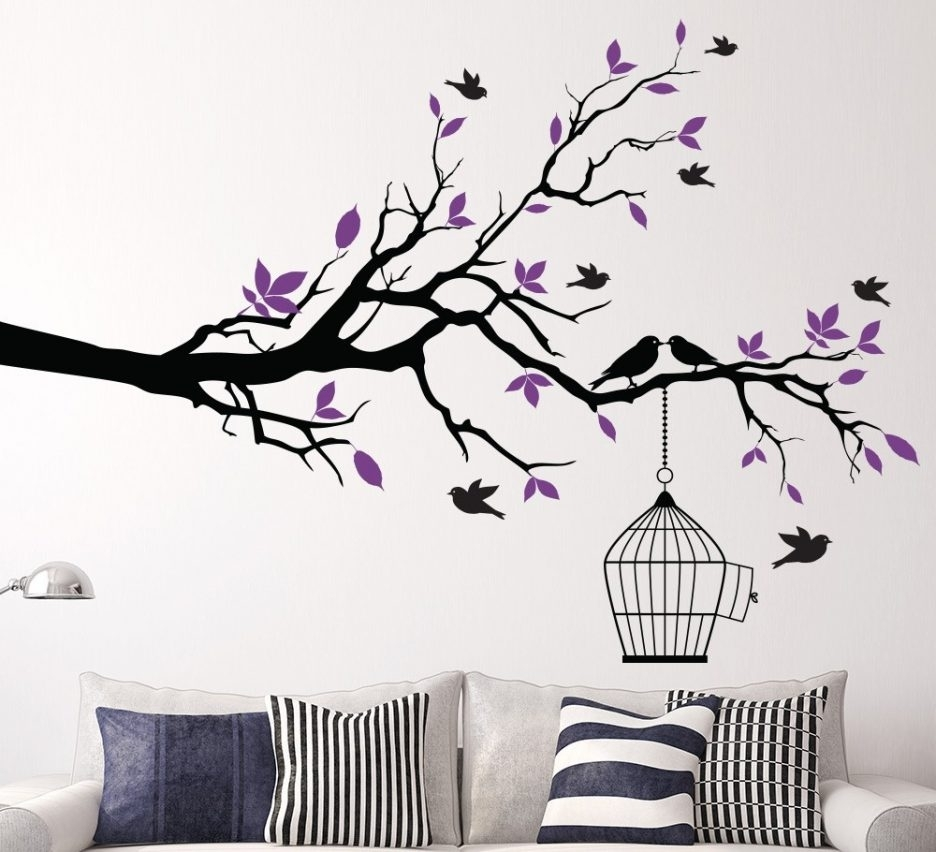 Living Room : Stunning Vinyl Wall Decal Decorating Ideas With With Regard To Latest Fabric Bird Wall Art (View 2 of 15)