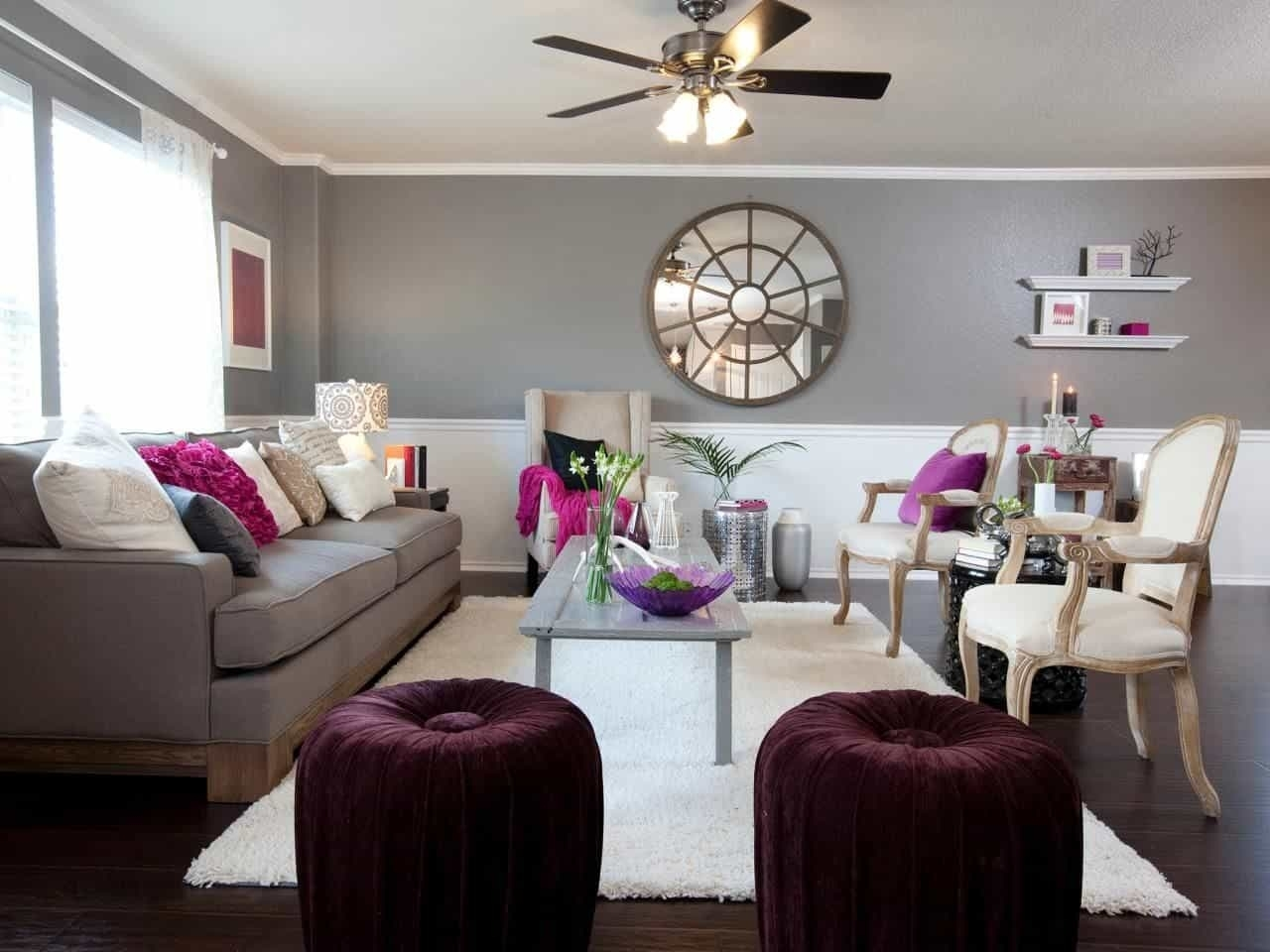 Living Room With Grey Wall Colors And Purple Accents – Colors That Intended For Current Wall Colors And Accents (View 14 of 15)