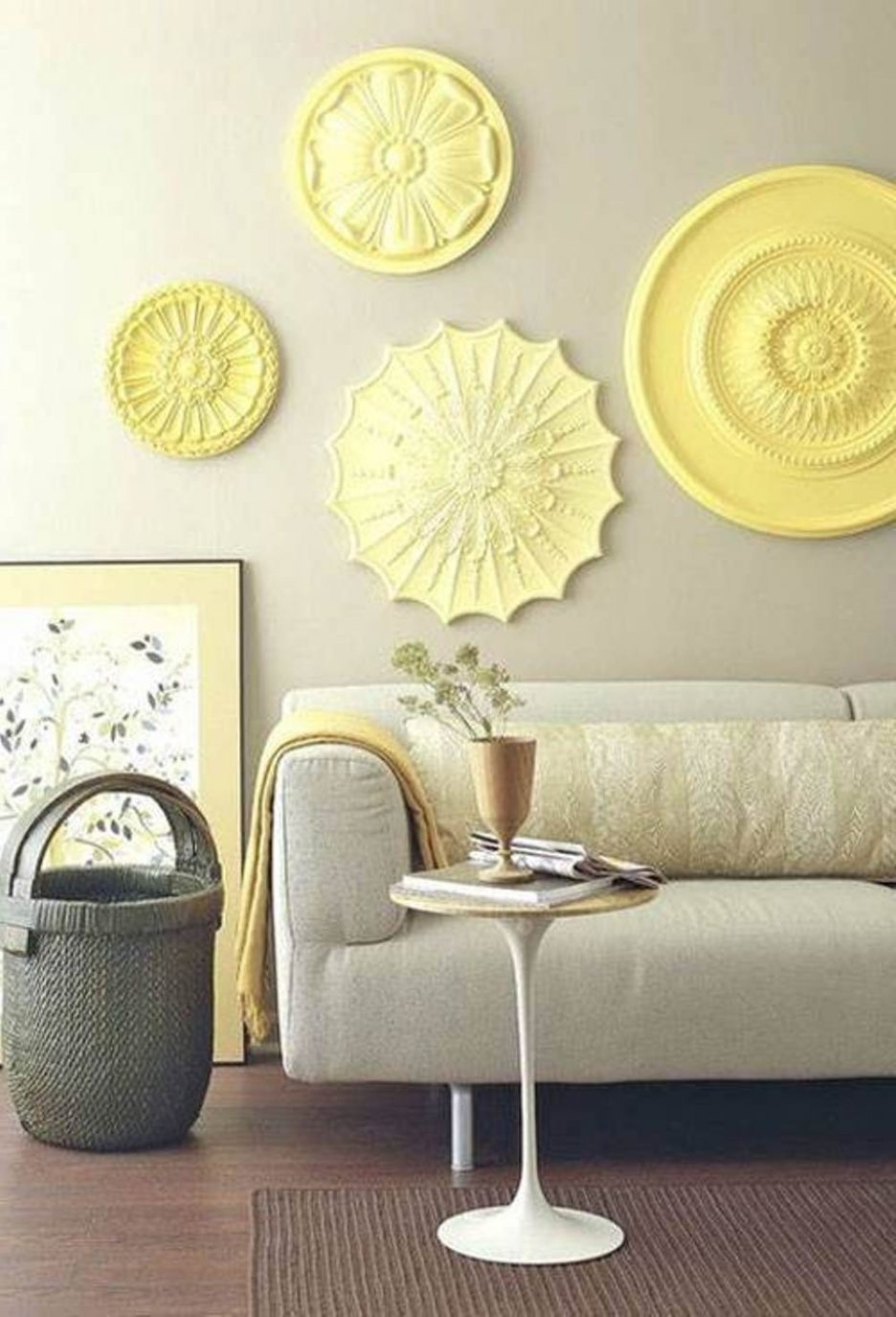 Living Room : Wonderful Wall Art Ideas For Living Room With Yellow Pertaining To Recent Fabric Circle Wall Art (View 8 of 15)