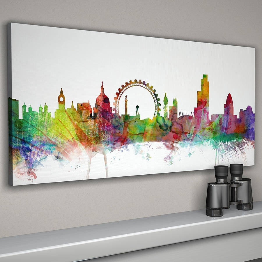 London City Skyline Printartpause | Notonthehighstreet Inside Most Popular Newcastle Canvas Wall Art (View 6 of 15)