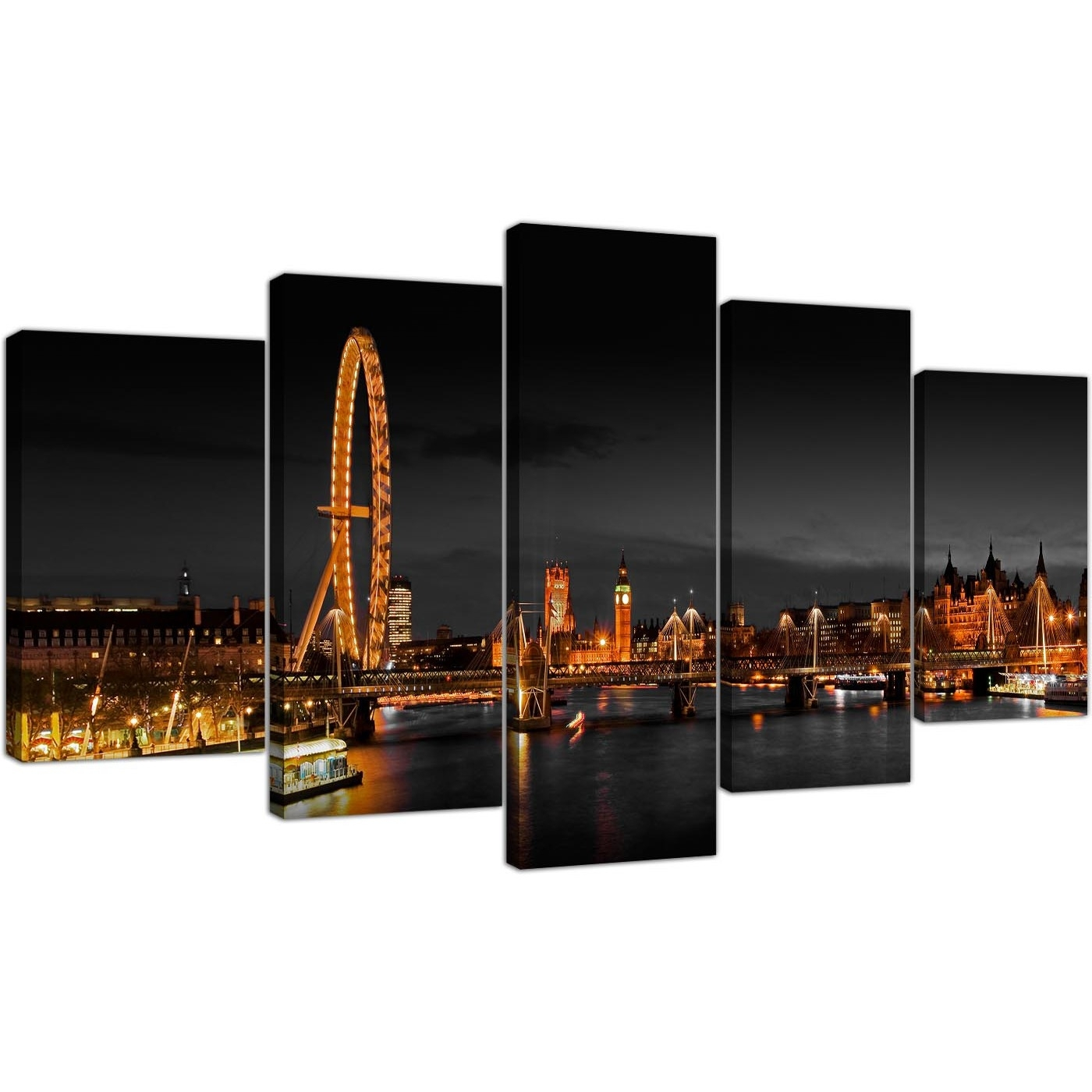 London Eye Canvas Prints Uk Night For Your Living Room – Set Of Five In Best And Newest London Canvas Wall Art (View 9 of 15)