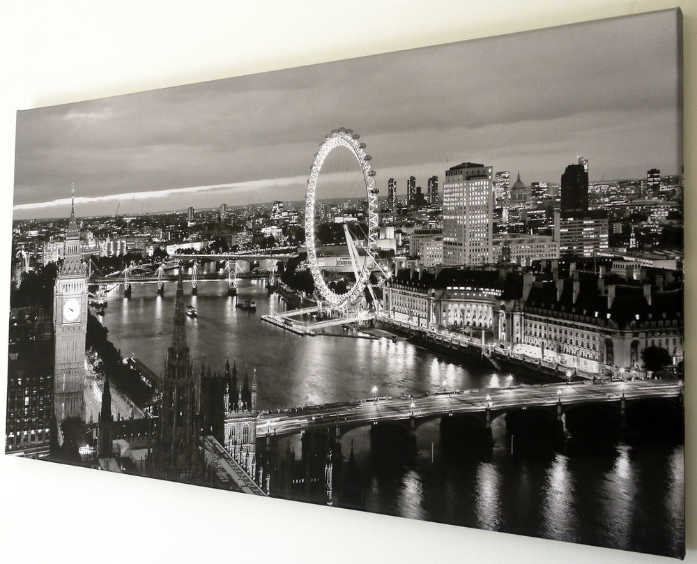 London Skyline Canvas | Ebay throughout Best and Newest London Canvas Wall Art