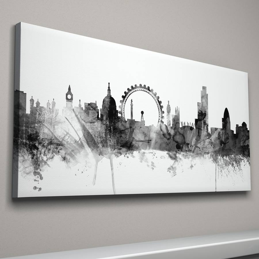 London Skyline Cityscape Black And Whiteartpause With Regard To 2017 London Canvas Wall Art (View 11 of 15)