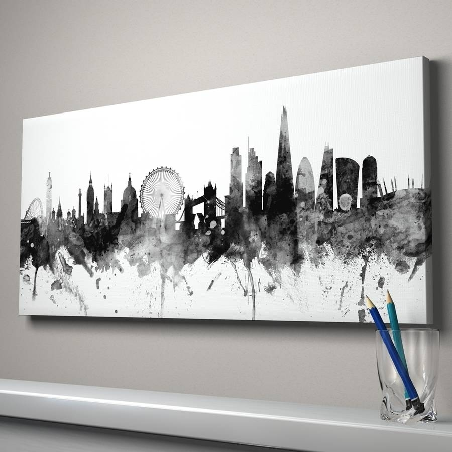 London Skyline Cityscape England Art Printartpause Regarding Recent Canvas Wall Art Of London (View 12 of 15)