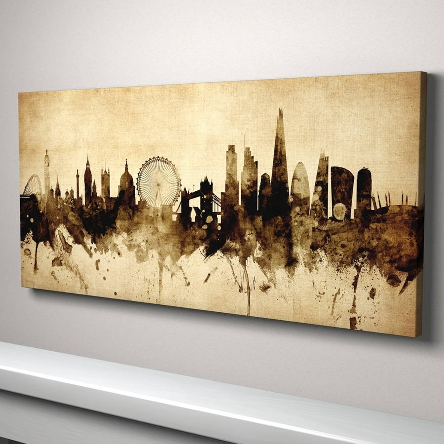 London Skyline Cityscape Vintage Art Printartpause Pertaining To 2017 Panoramic Canvas Wall Art (Gallery 15 of 15)
