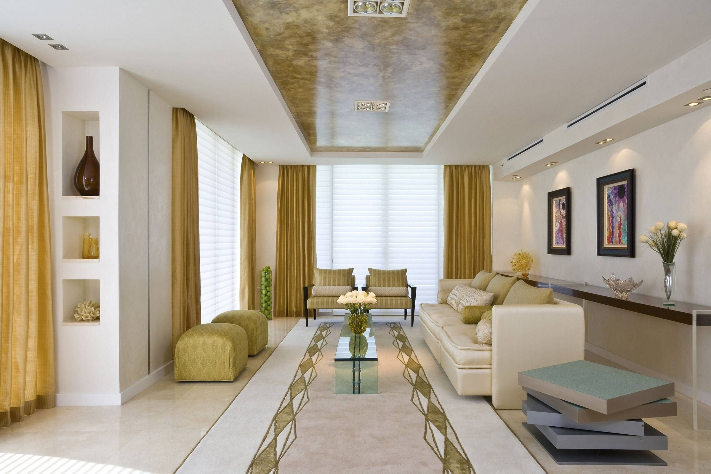 Long Narrow Family Room Layout With Gold Interior Design Trend And With Regard To Recent Wall Accents For Narrow Room (View 7 of 15)