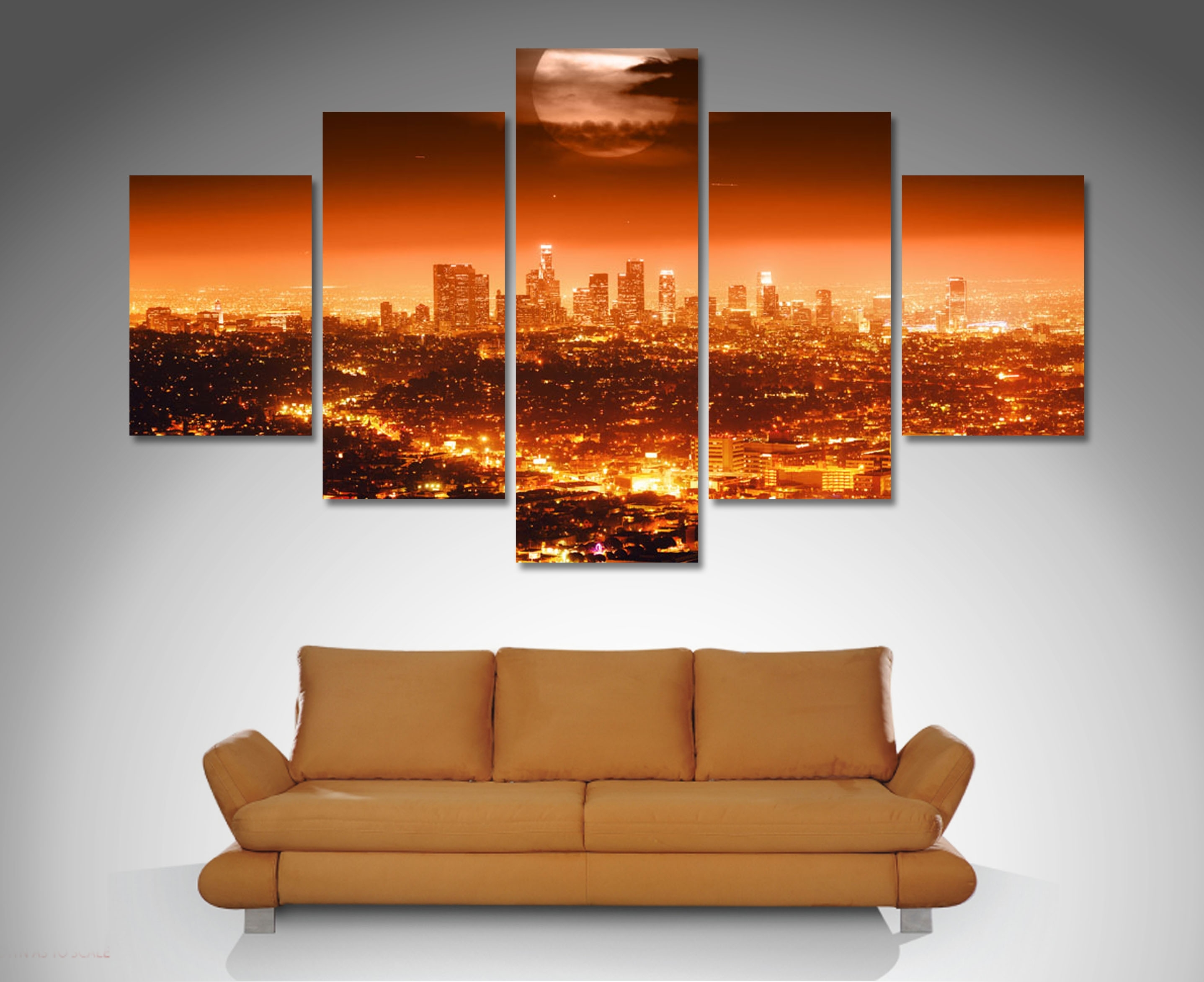 Los Angeles 5 Panel Diamond Shape Canvas Prints Http://www Intended For Newest Orange Canvas Wall Art (View 7 of 15)