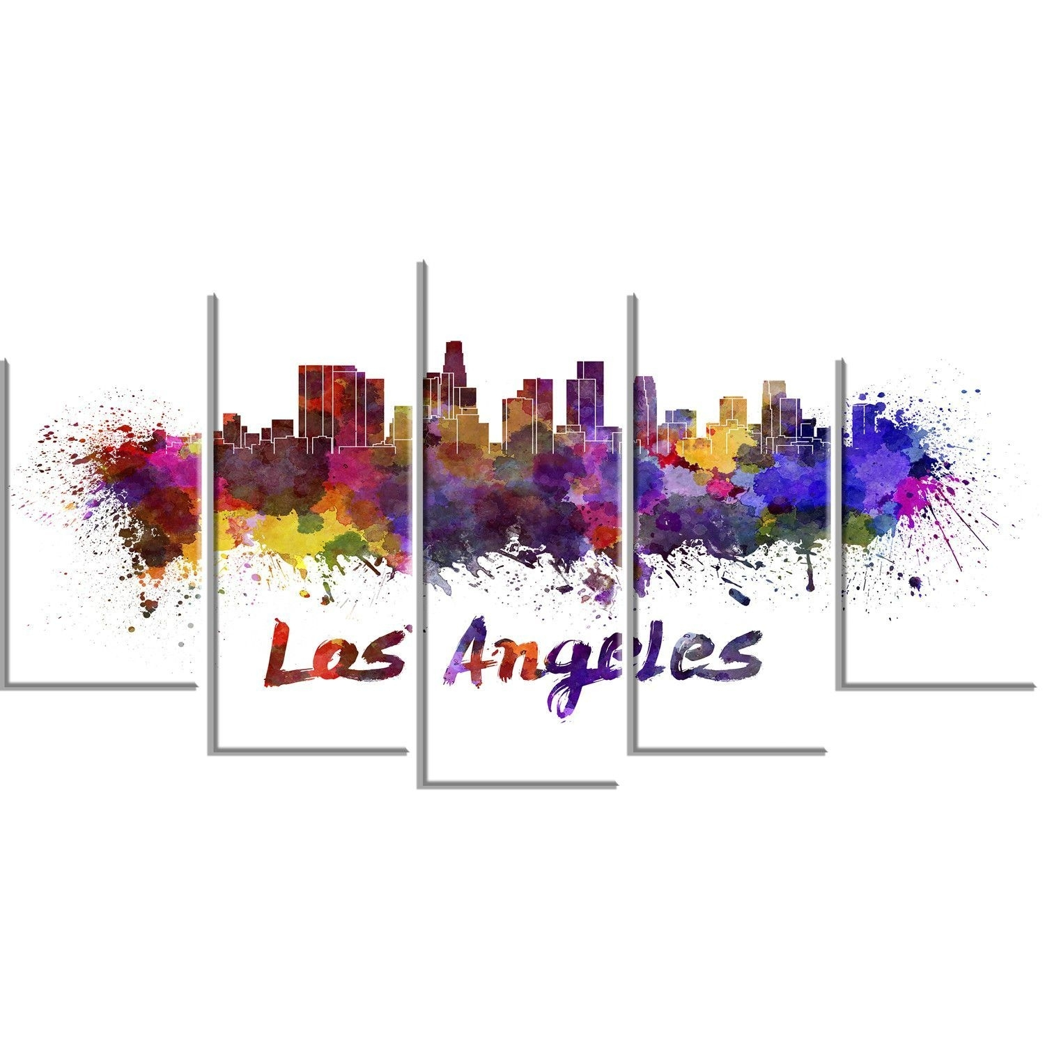 Los Angeles Skyline Cityscape 5 Piece Graphic Art On Wrapped Throughout Latest Los Angeles Canvas Wall Art (Gallery 11 of 15)