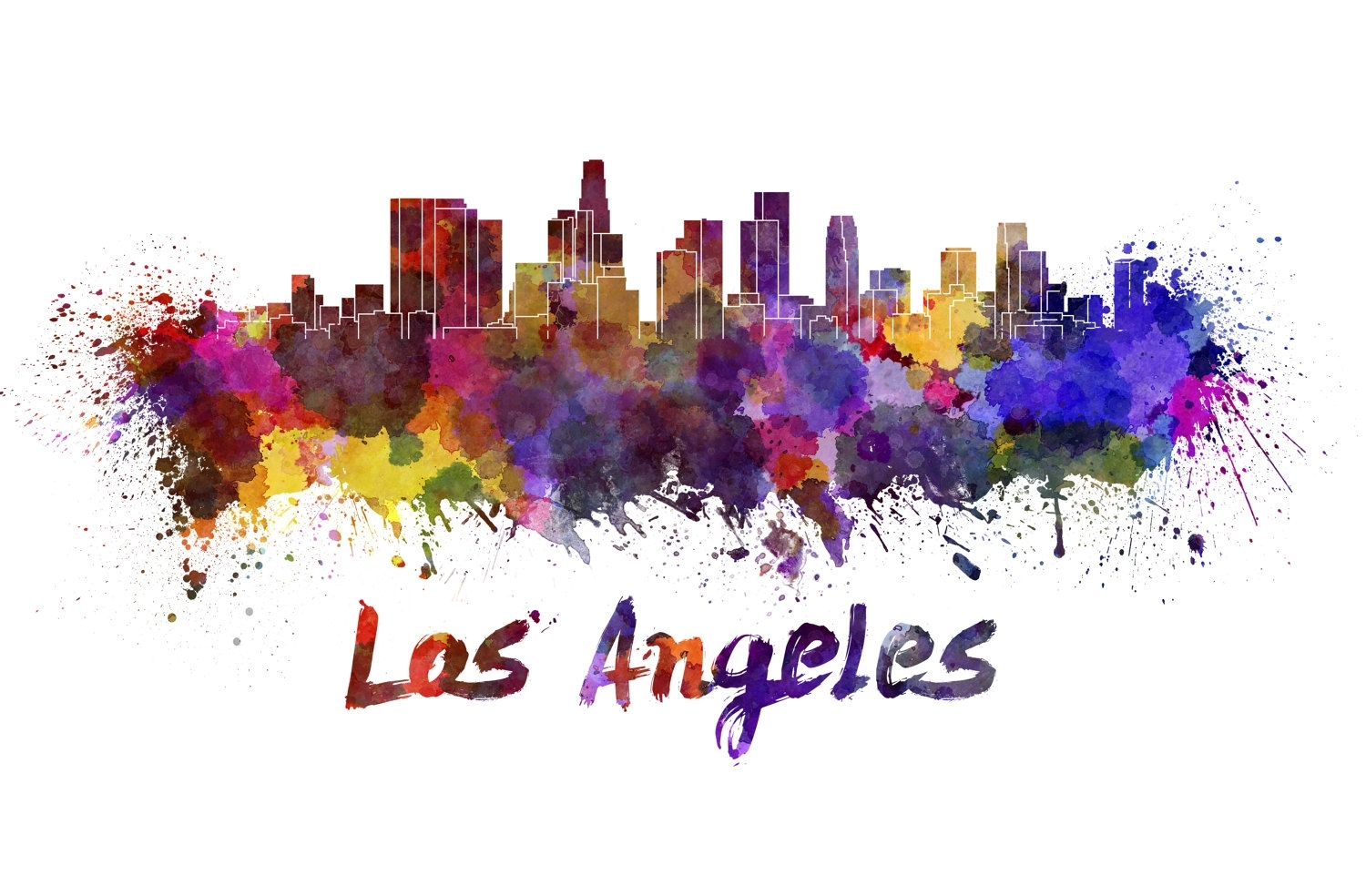 Los Angeles Skyline Watercolor Canvas, Los Angeles Canvas Print Throughout Most Current Los Angeles Canvas Wall Art (View 12 of 15)