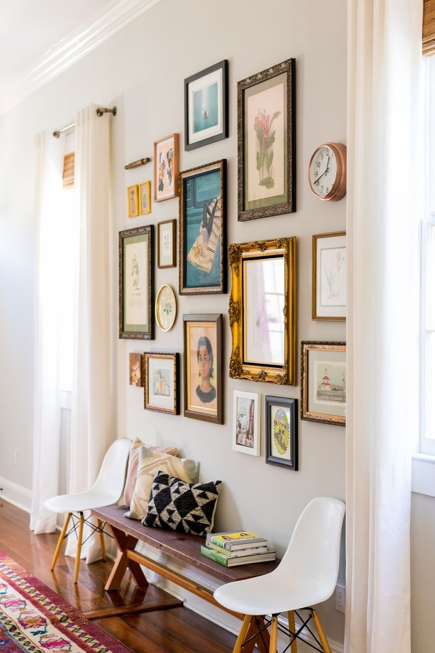 Love All The Different Styles Of Frames Used | Registry Ideas Regarding Current Entryway Wall Accents (View 5 of 15)