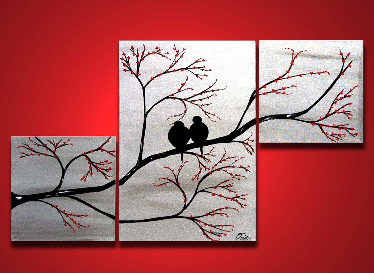 Love Birds In Tree Brance, Original Large Wall Art 40 X 24, Silver Intended For 2017 Canvas Wall Art Of Trees (View 6 of 15)