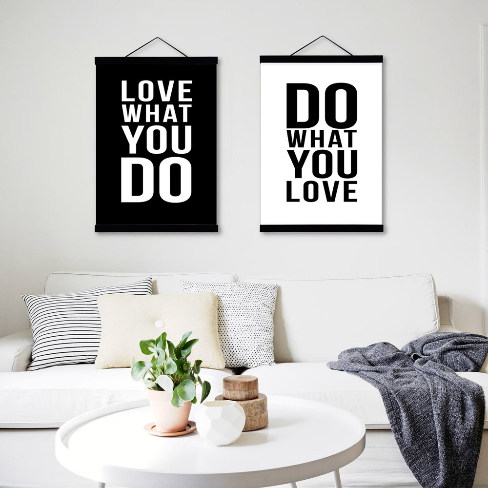 Love Black White Modern Inspirational Poster Prints Canvas With 2018 Canvas Wall Art Quotes (Gallery 14 of 15)