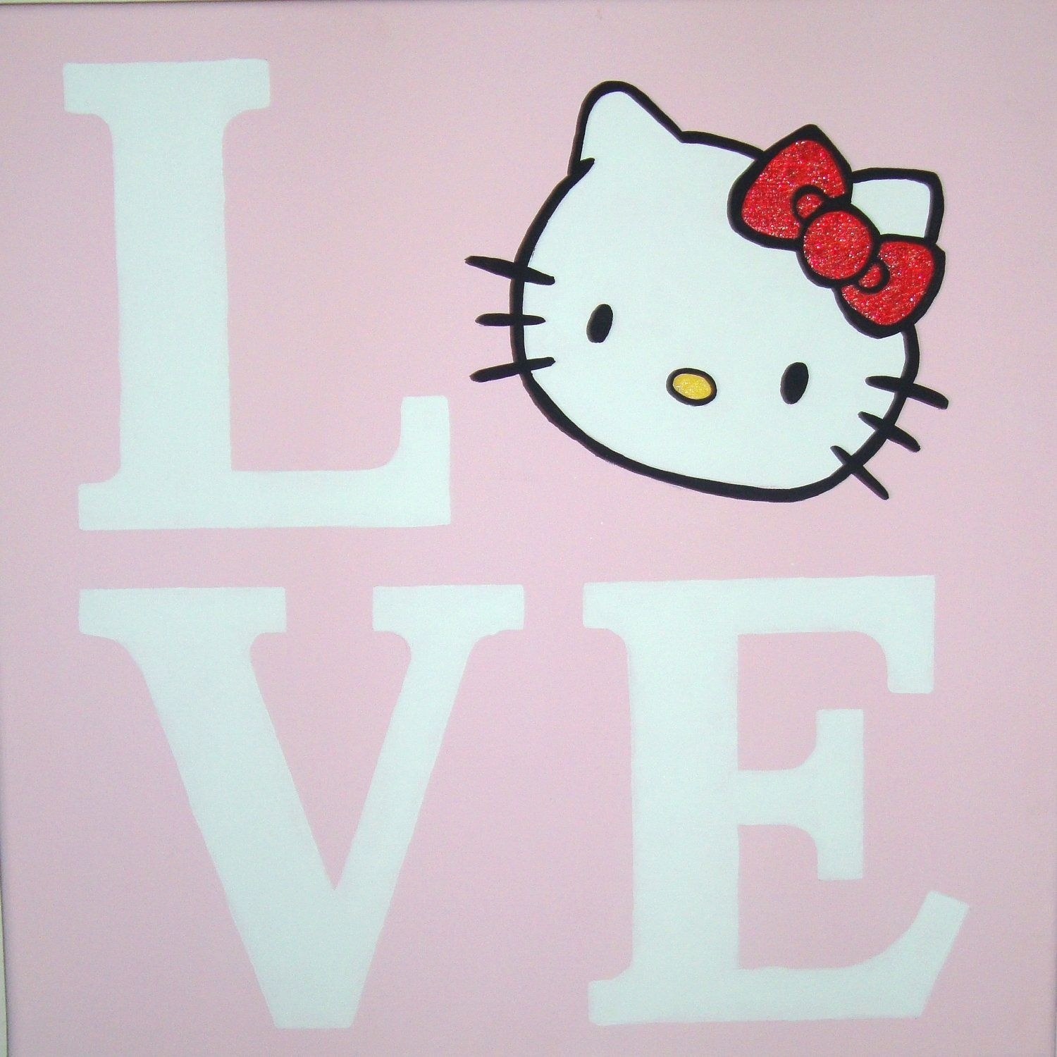 Love Hello Kitty Canvas Wall Art Painting Handpainted 12x12 In Most Recent Hello Kitty Canvas Wall Art (View 5 of 15)