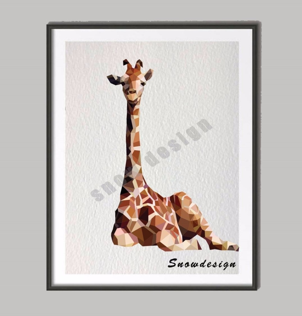 Low Poly Modern Geometric Giraffe Canvas Painting Wall Art Poster Regarding Most Current Giraffe Canvas Wall Art (View 9 of 15)