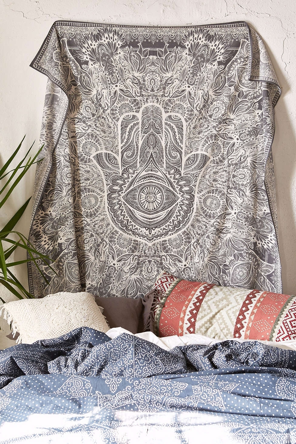 Magical Thinking Sketched Hamsa Tapestry – Urban Outfitters Inside Best And Newest Fabric Wall Art Urban Outfitters (View 3 of 15)