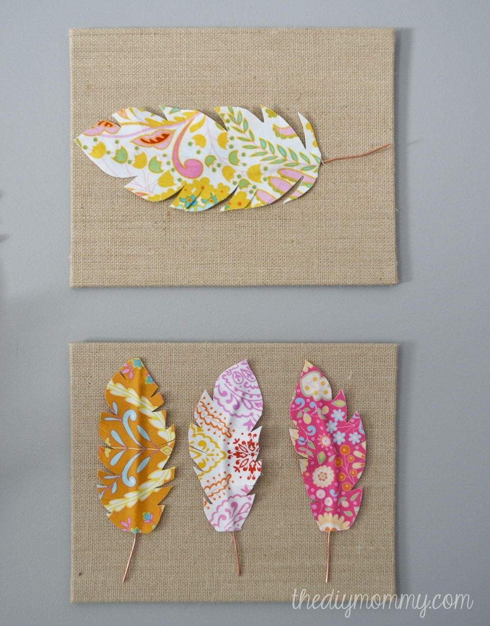 Make Fabric Feather Wall Art | The Diy Mommy Within Most Popular Burlap Fabric Wall Art (Gallery 3 of 15)