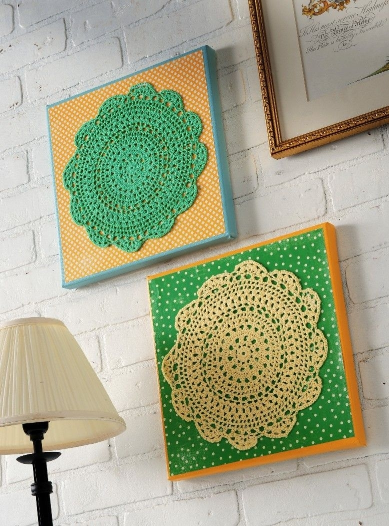 Make Your Own Doily Wall Art | Scrapbook Paper, Walls And Scrapbook Regarding Latest Mod Podge Fabric Wall Art (View 9 of 15)