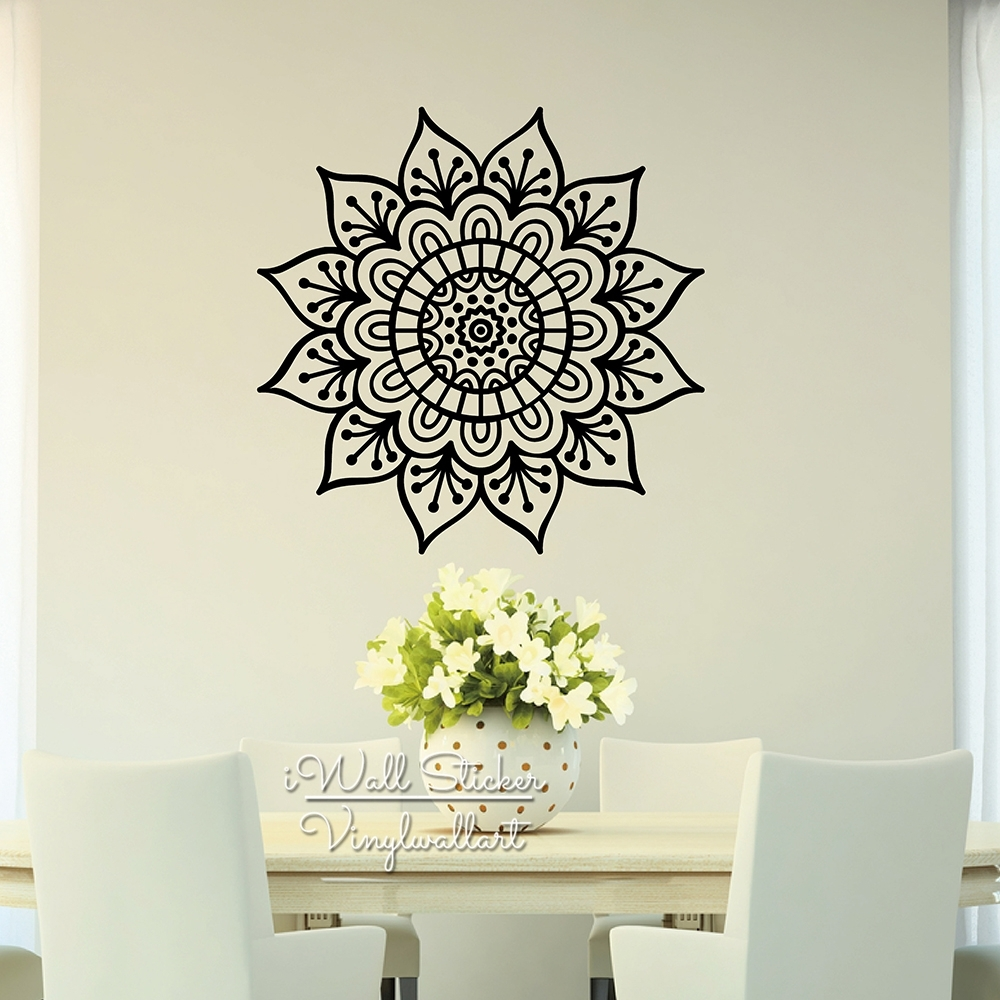 Mandala Wall Sticker Modern Flower Wall Decal Diy Indian Wall Intended For Most Up To Date Removable Wall Accents (View 12 of 15)