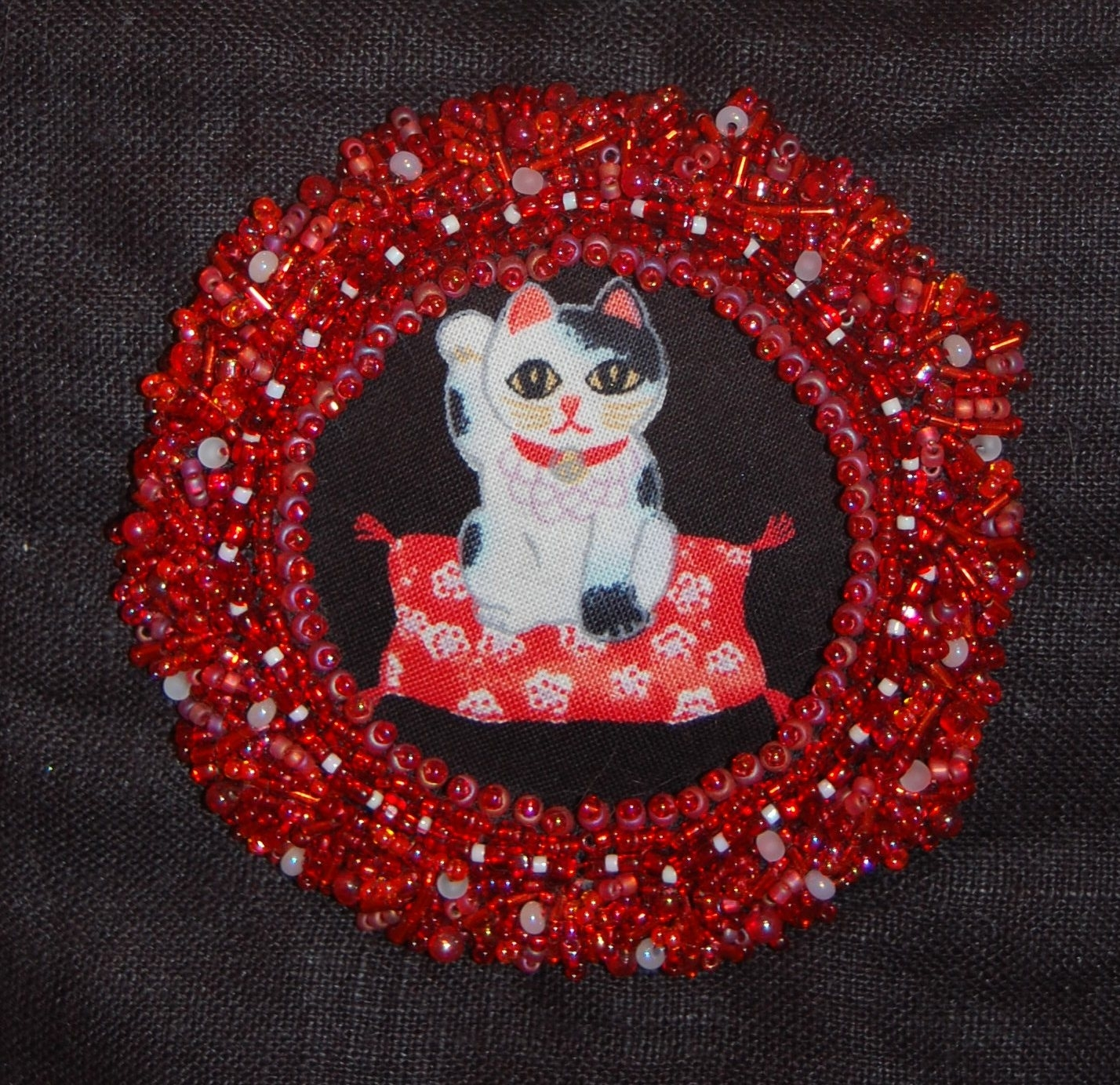 Maneki Neko Beaded Fabric Wall Hanging Detail | Pieceable Kingdom Pertaining To Most Up To Date Fabric Collage Wall Art (Gallery 14 of 15)