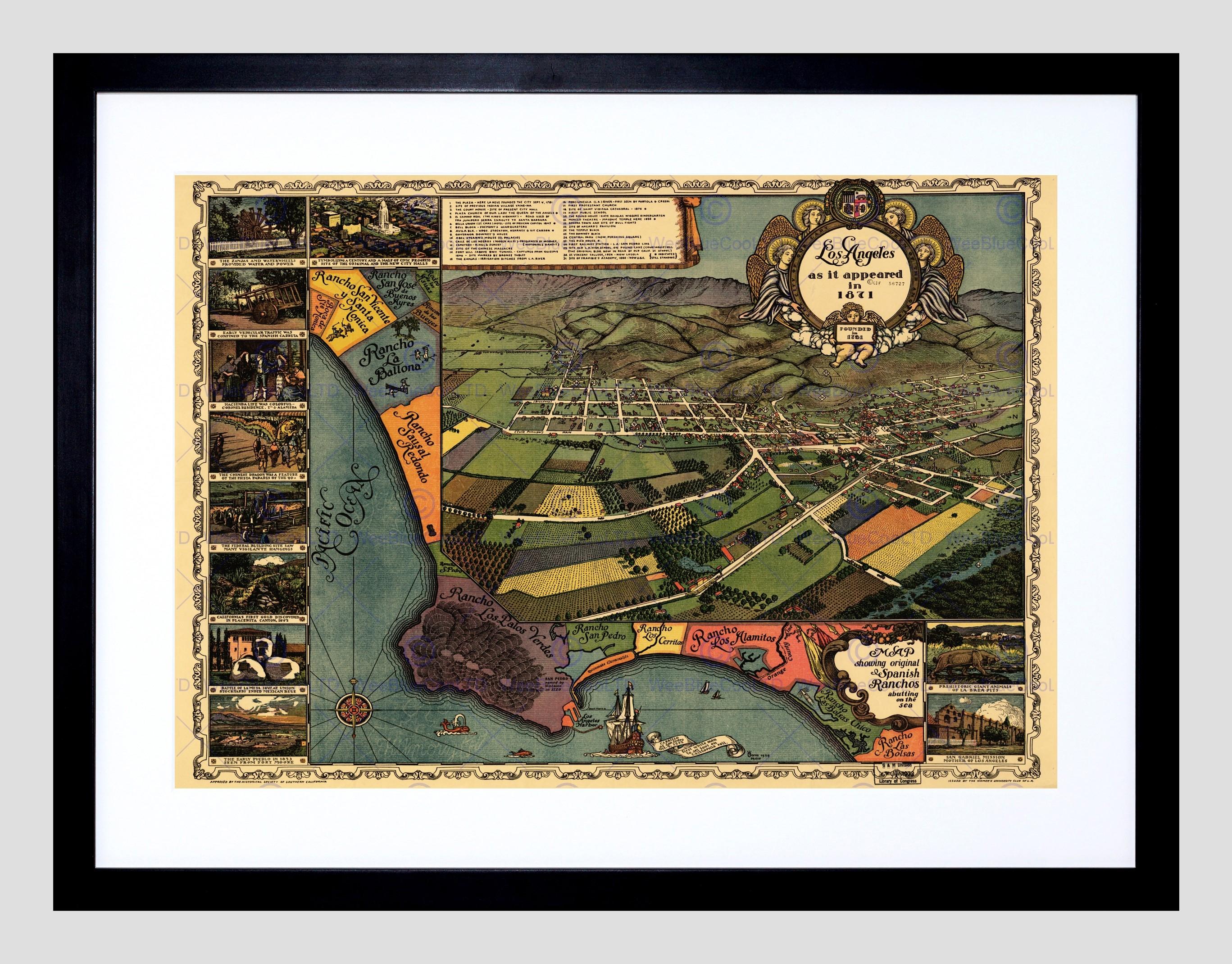 Map Los Angeles 1871 Vintage Framed Art Print Poster F12X10075 | Ebay Inside 2018 Los Angeles Framed Art Prints (View 4 of 15)