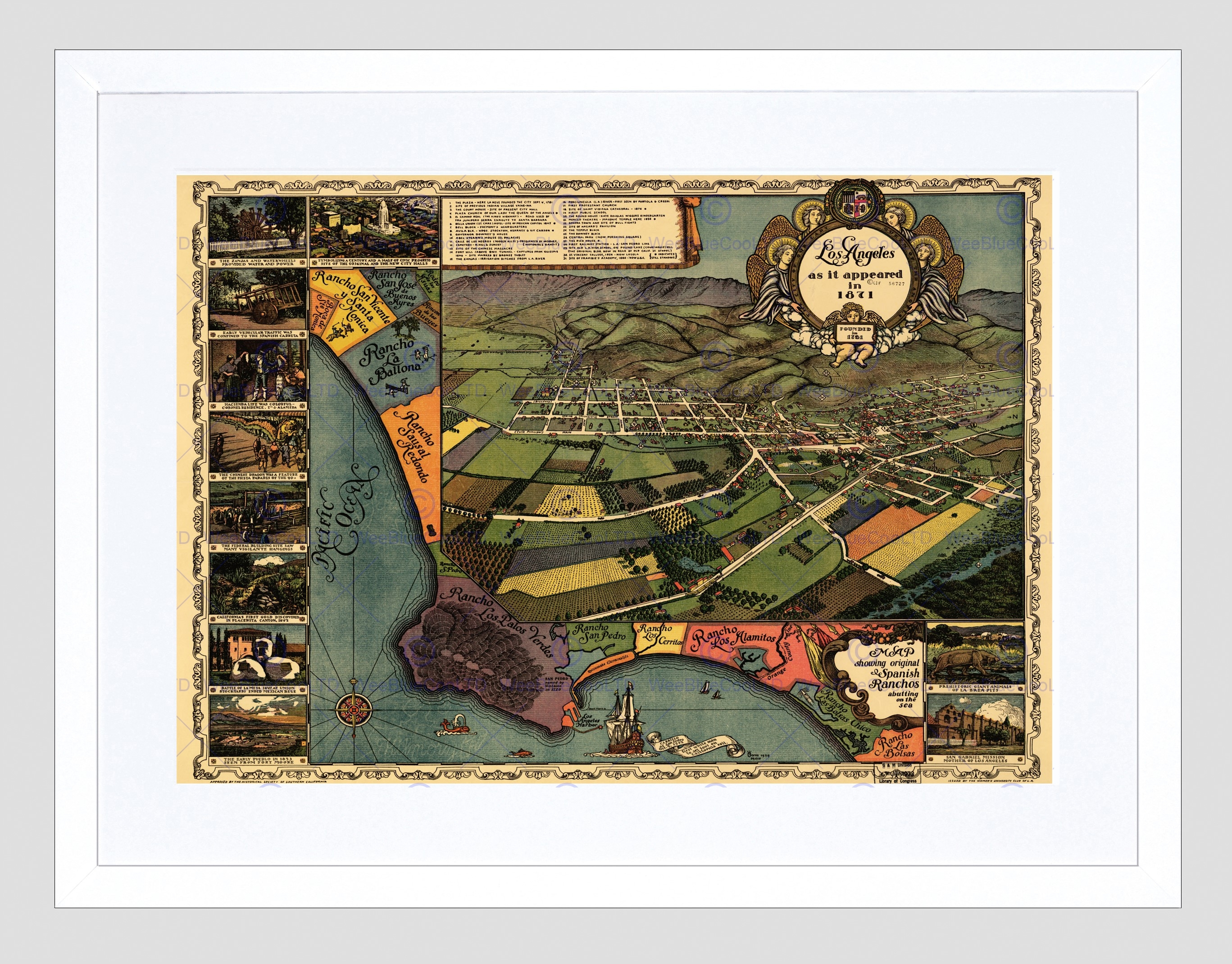 Map Los Angeles 1871 Vintage Framed Art Print Poster F97x11925 | Ebay With Most Recent Los Angeles Framed Art Prints (View 13 of 15)