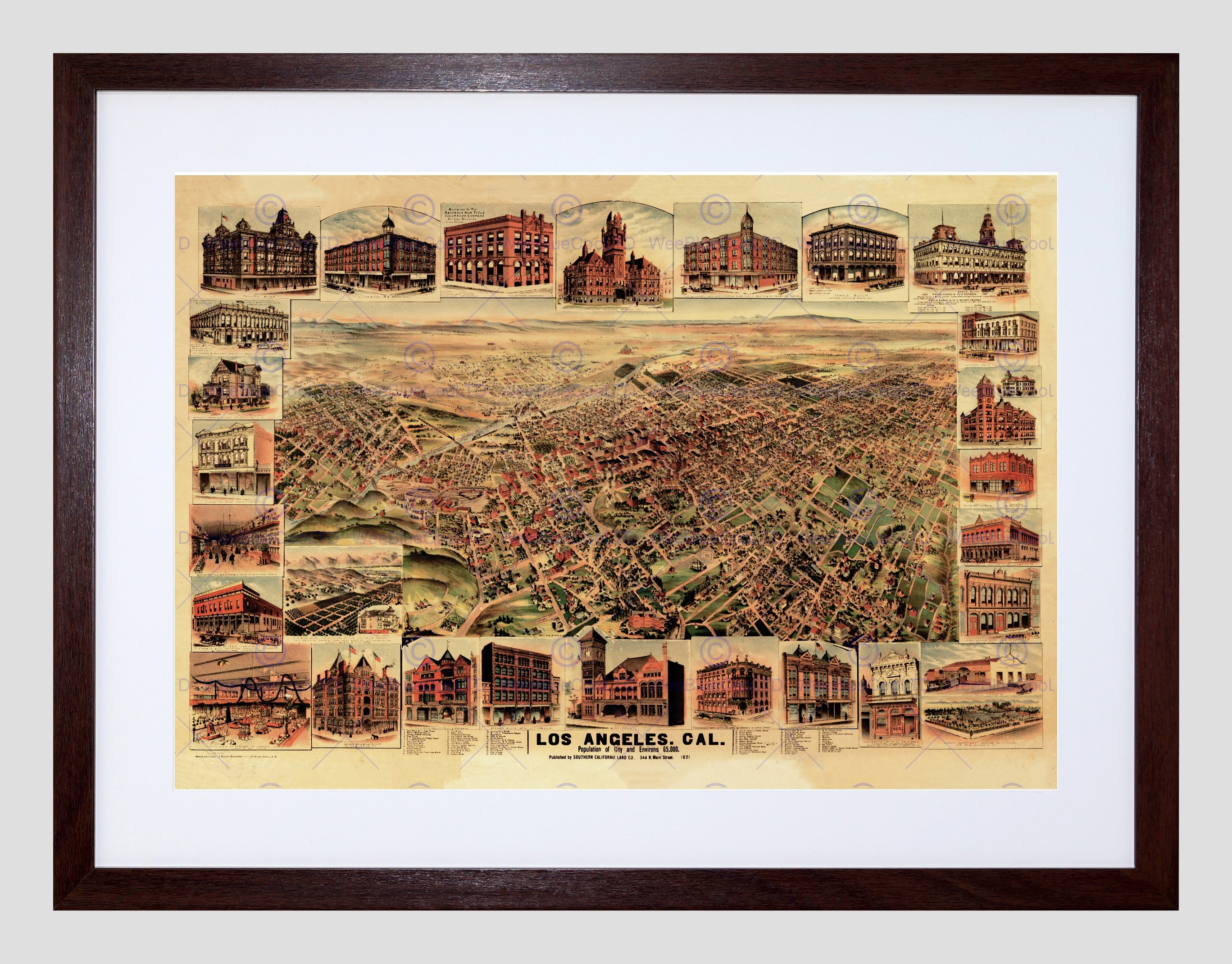 Map Los Angeles California 1891 Framed Art Print Poster F12x10076 Inside Recent Los Angeles Framed Art Prints (View 15 of 15)