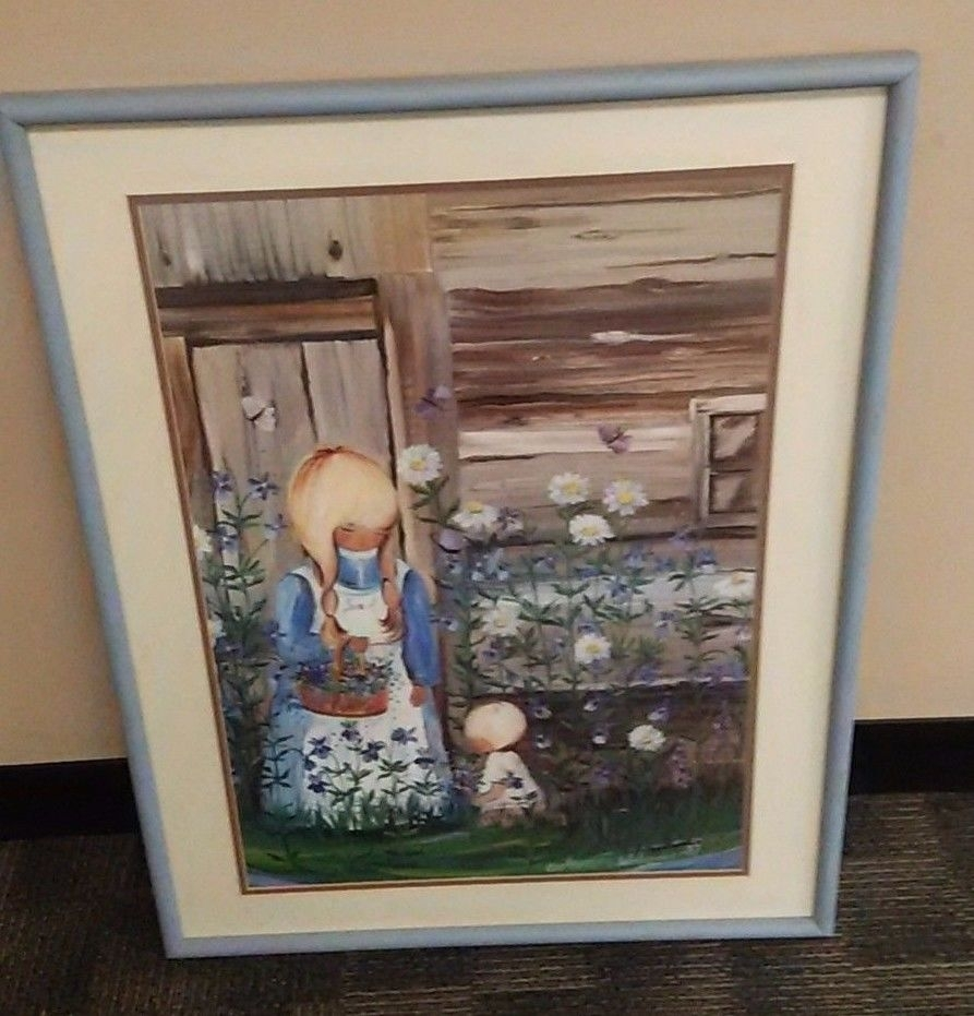 Marianne Welander Large Framed Lithograph Violet Folk Art Painting With Regard To Most Recent Framed Folk Art Prints (Gallery 1 of 15)