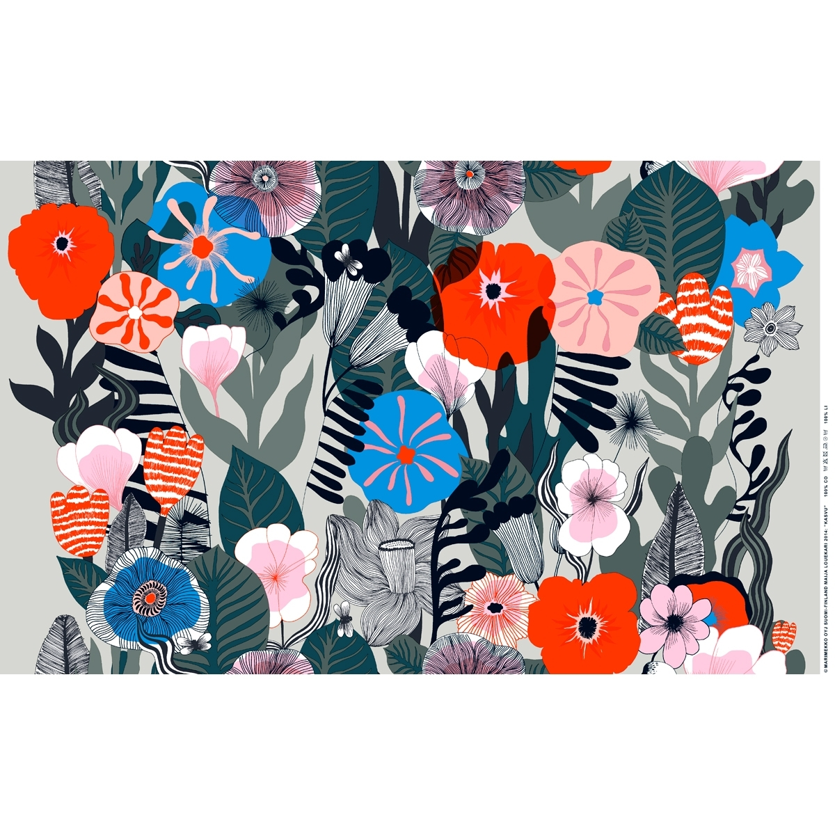 Marimekko Kasvu Grey Pvc Fabric 35 1,200×1,200 Pixels | Home With Best And Newest Marimekko 'karkuteilla' Fabric Wall Art (Gallery 7 of 15)