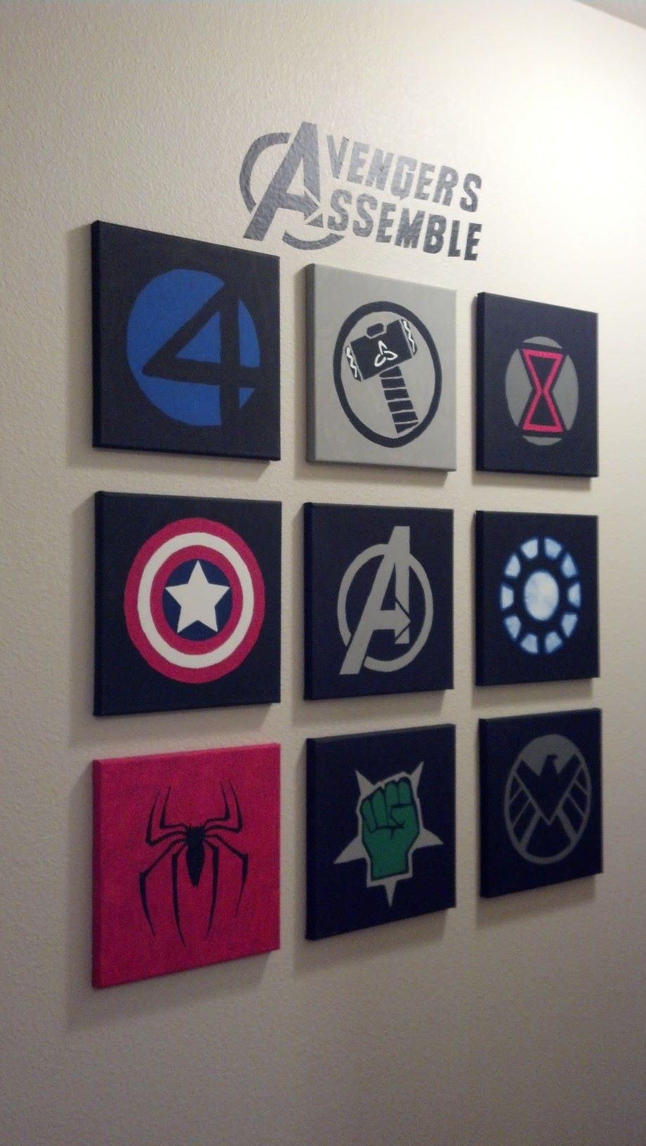 Marvel Avengers Wall Art Made Out Of 10X10 Canvases And Acrylic Pertaining To Recent Marvel Canvas Wall Art (Gallery 5 of 15)