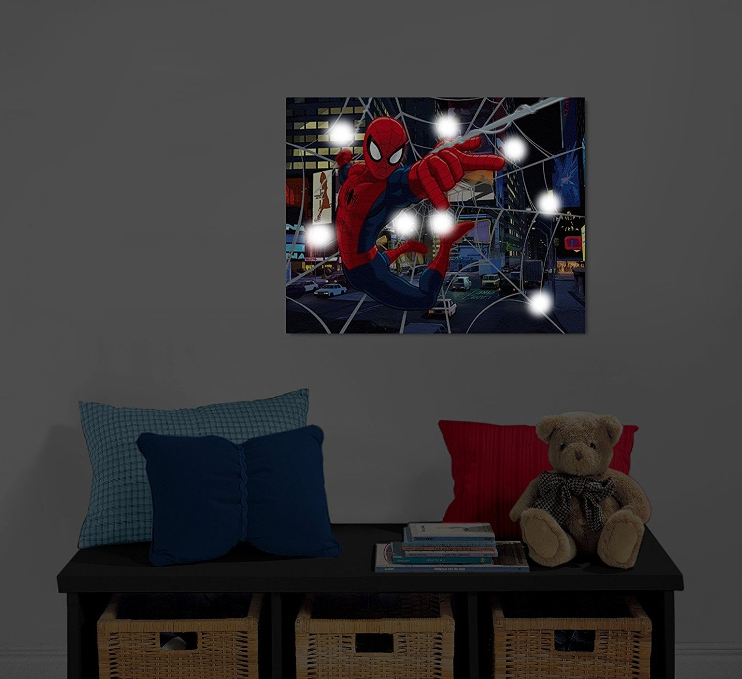 Marvel Spiderman Light Up Canvas Wall Art With Bonus Led Lights Pertaining To Current Marvel Canvas Wall Art (View 15 of 15)