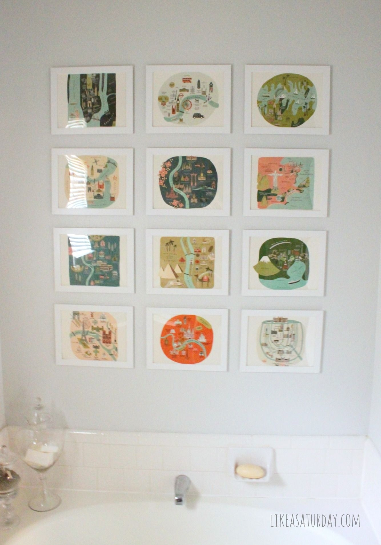 Master Bath Gallery Wall — Using Prints From A Rifle Paper Co Throughout Recent Vintage Bath Framed Art Prints Set Of (View 11 of 15)